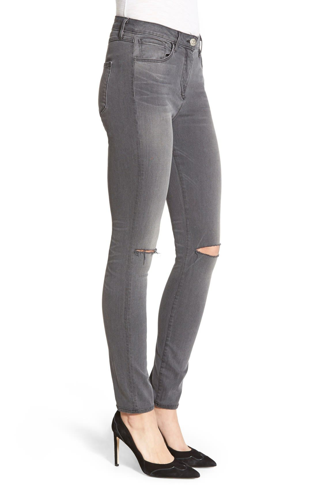 Alternate Image 3  - 3x1 NYCHigh Rise Destroyed Skinny Jeans (Golf Grey Decon)