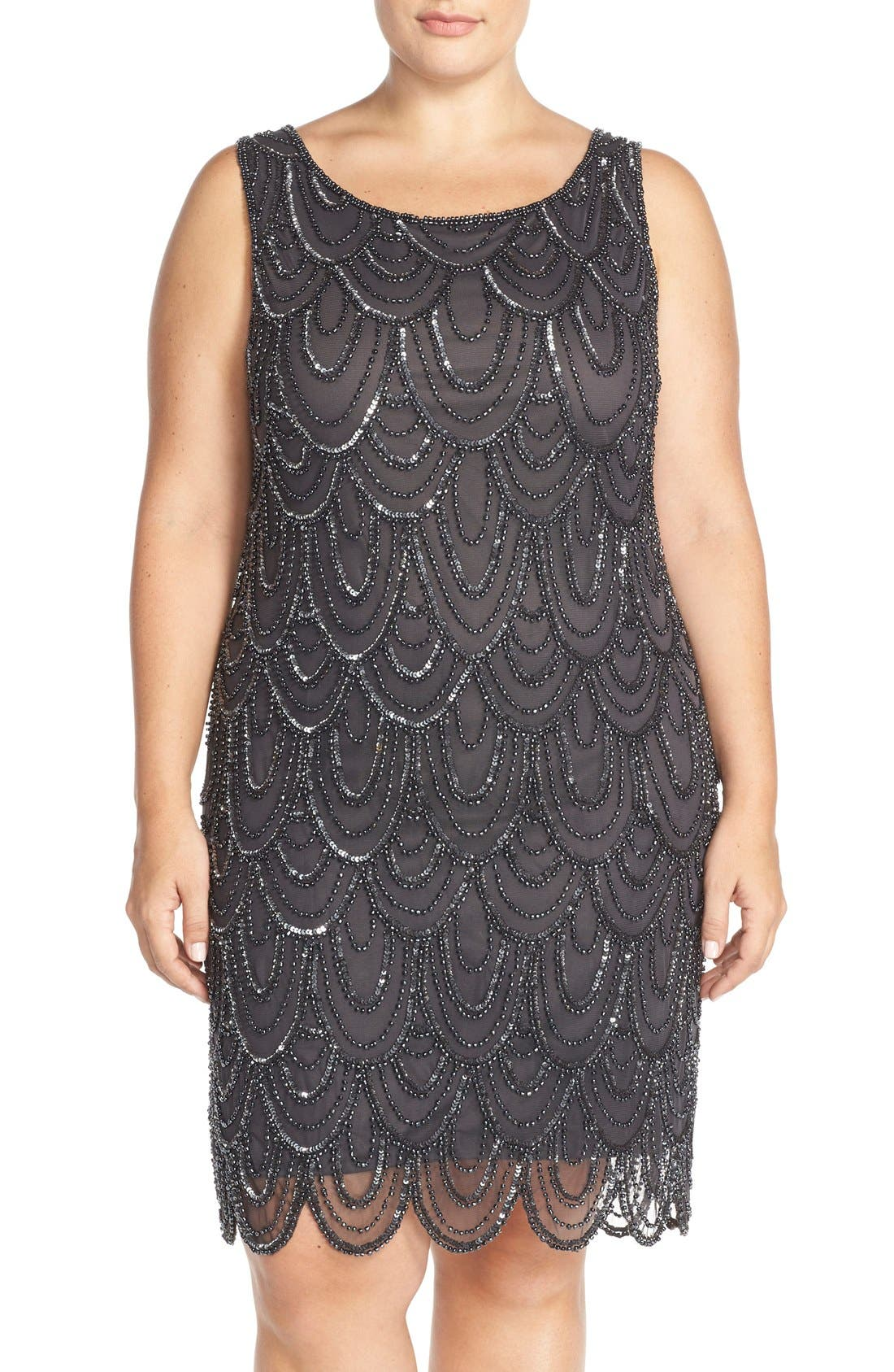 Pisarro Nights Beaded Sheath Dress (Plus Size)