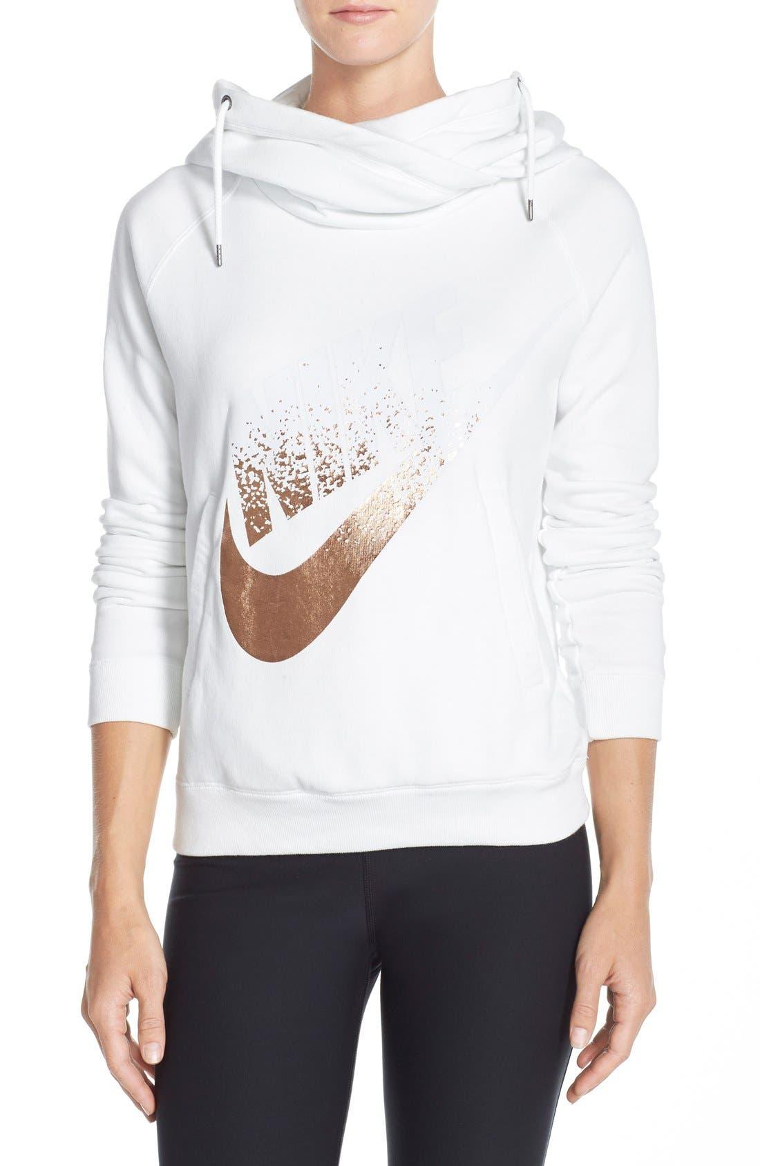 Alternate Image 1 Selected - Nike 'Rally' Foiled Logo Hoodie