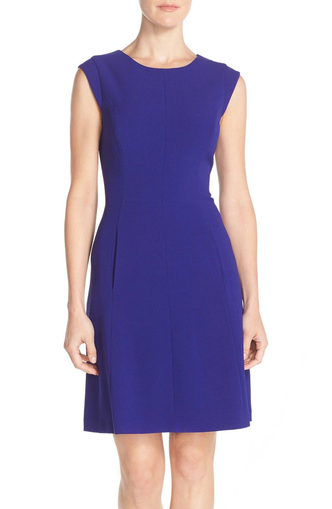 Alternate Image 1 Selected - Vince Camuto Seamed Crepe Fit & Flare Dress (Regular & Petite)