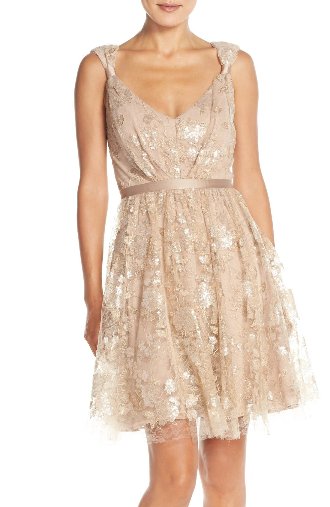 Main Image - Vera Wang Lace & Sequin Sleeveless Fit & Flare Dress