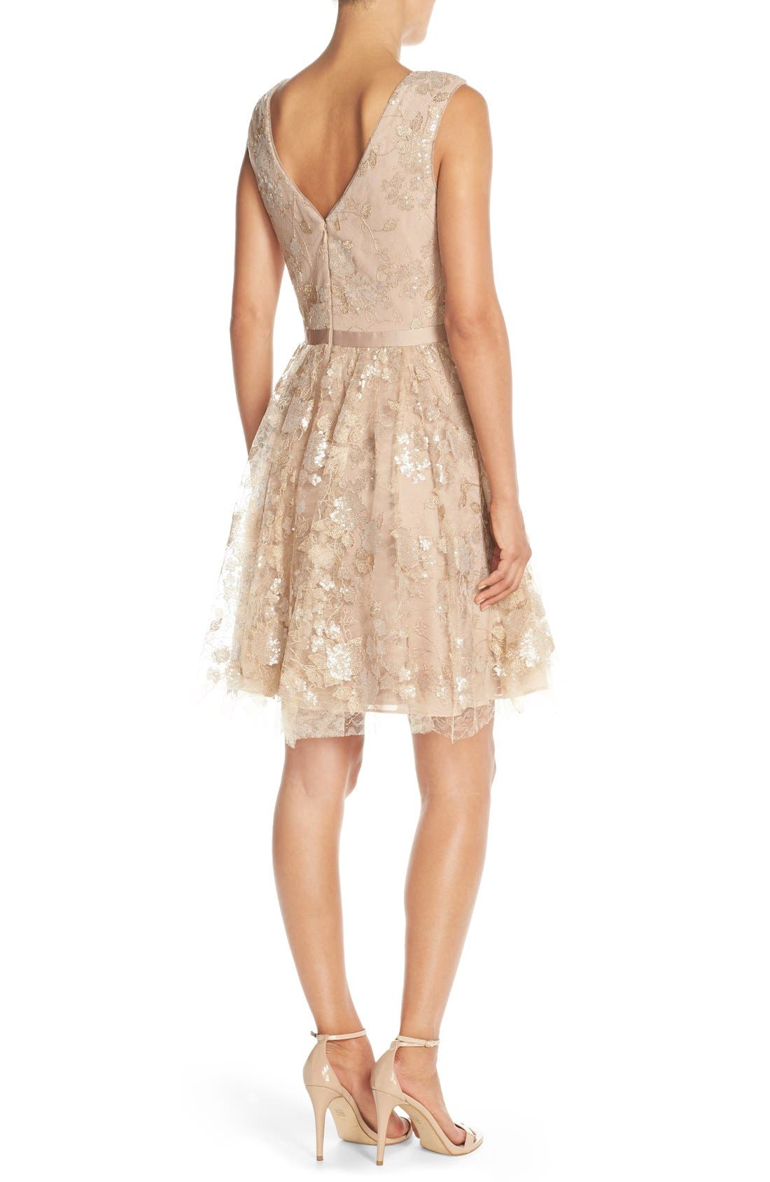 Alternate Image 2  - Vera Wang Lace & Sequin Sleeveless Fit & Flare Dress