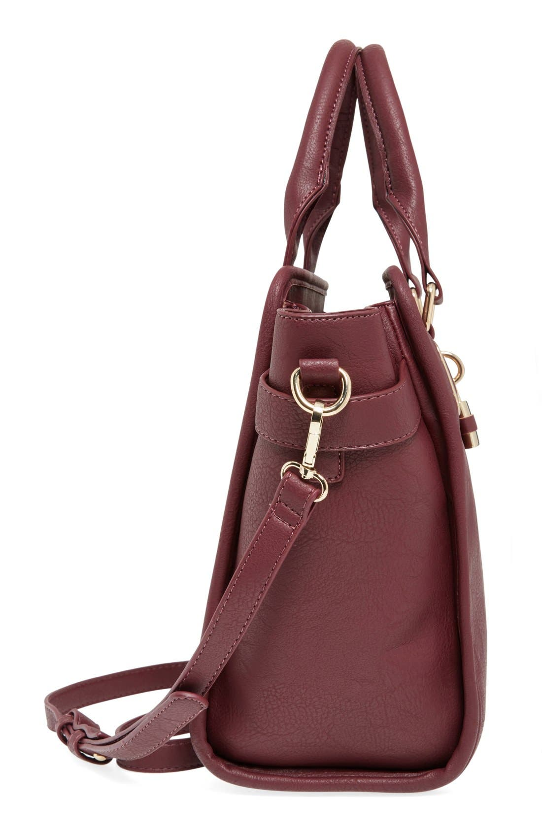 Alternate Image 5  - Cesca Faux Leather Crossbody Lock Satchel