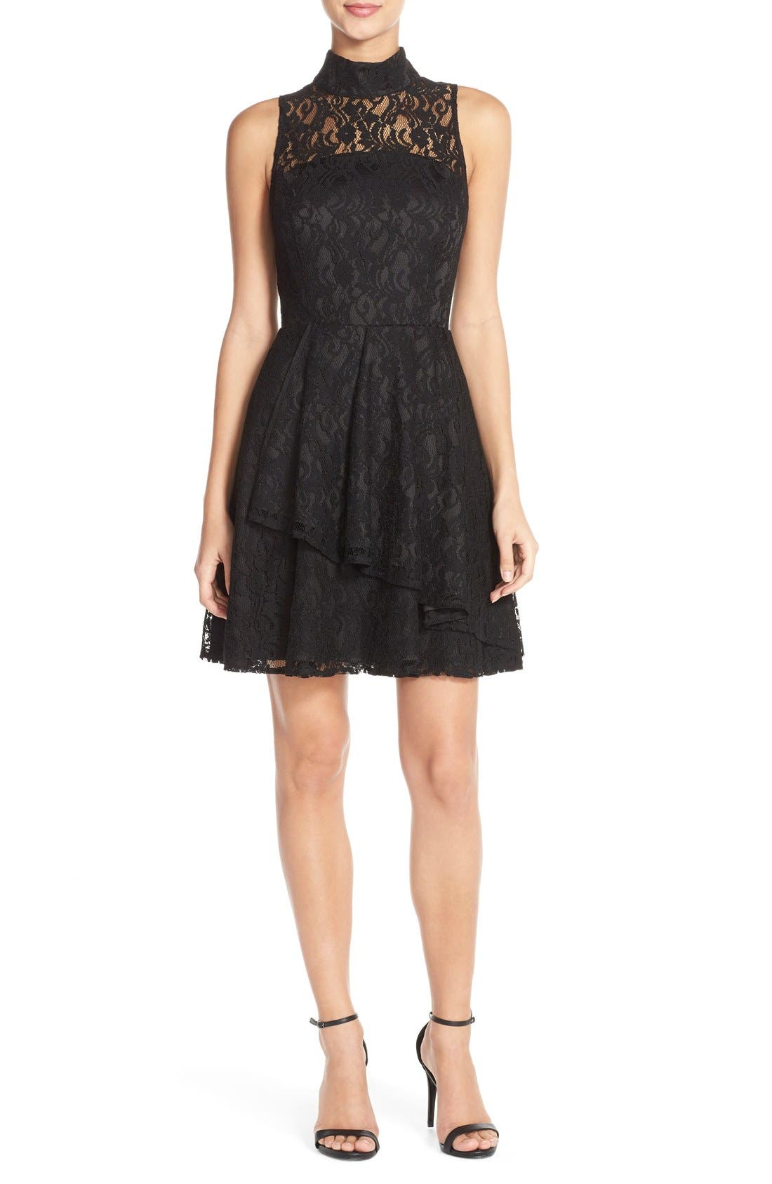 Alternate Image 4  - Adelyn Rae Mock Neck Lace Fit & Flare Dress