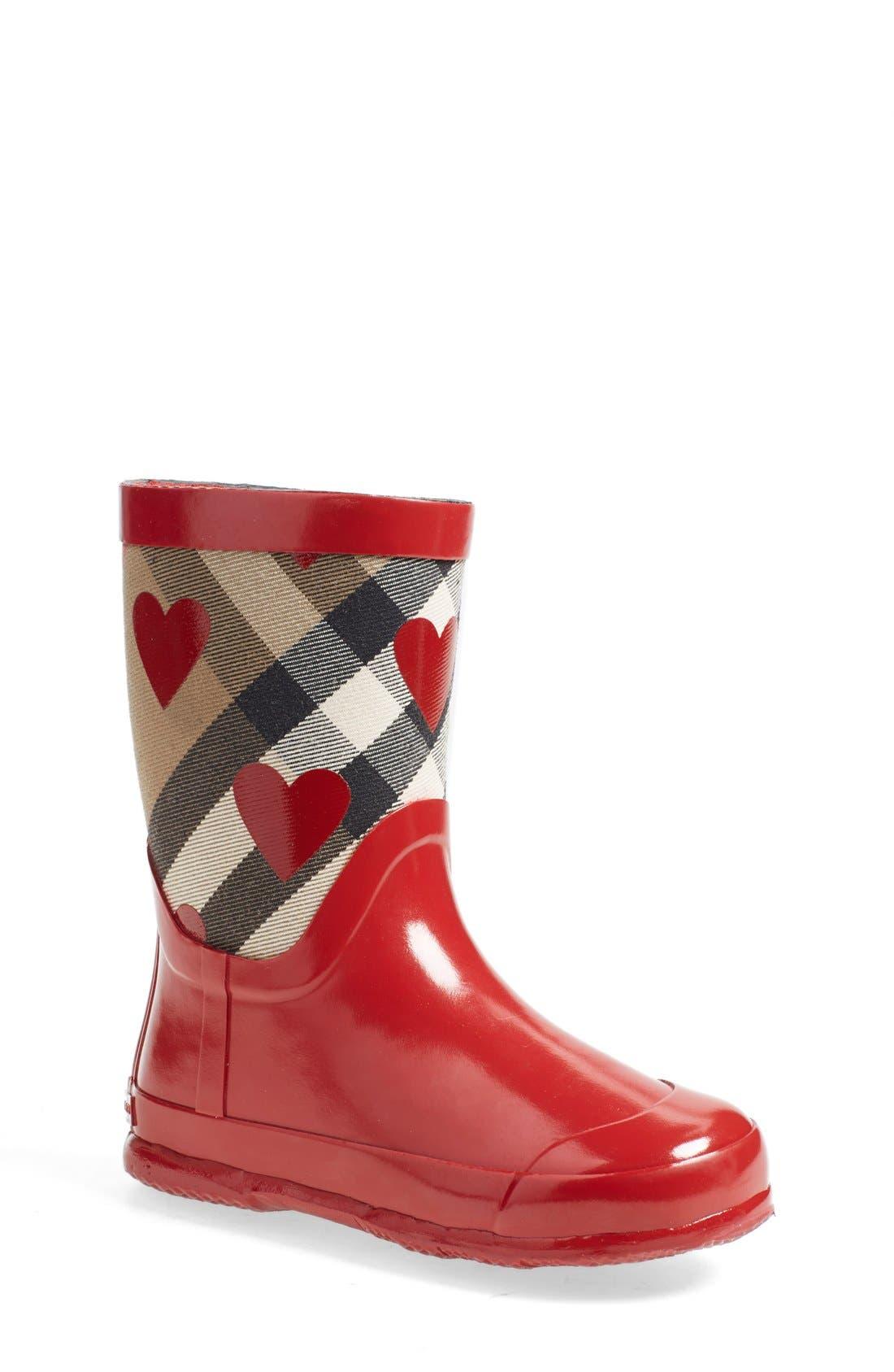 Burberry 'Ranmoor' Heart Print Rain Boot (Walker, Toddler & Little Kid)