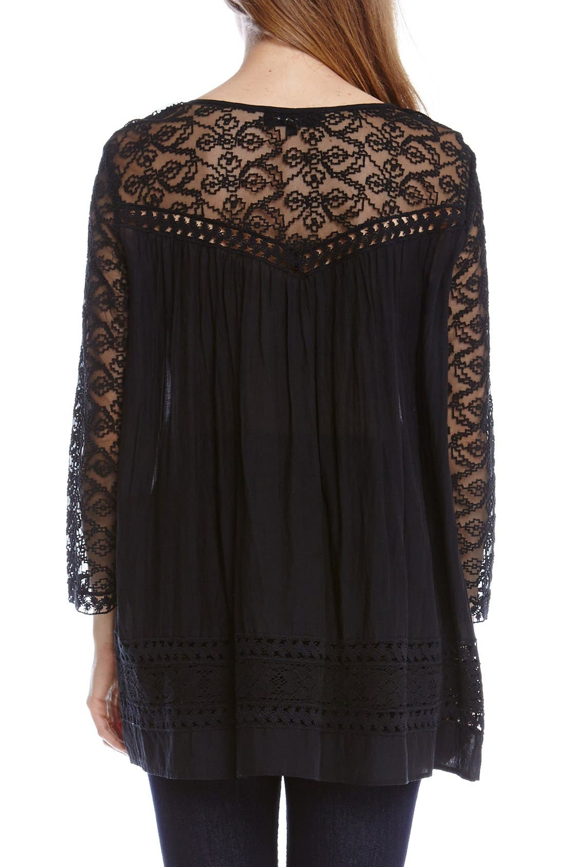 Alternate Image 2  - Karen Kane Mixed Lace Inset Peasant Top