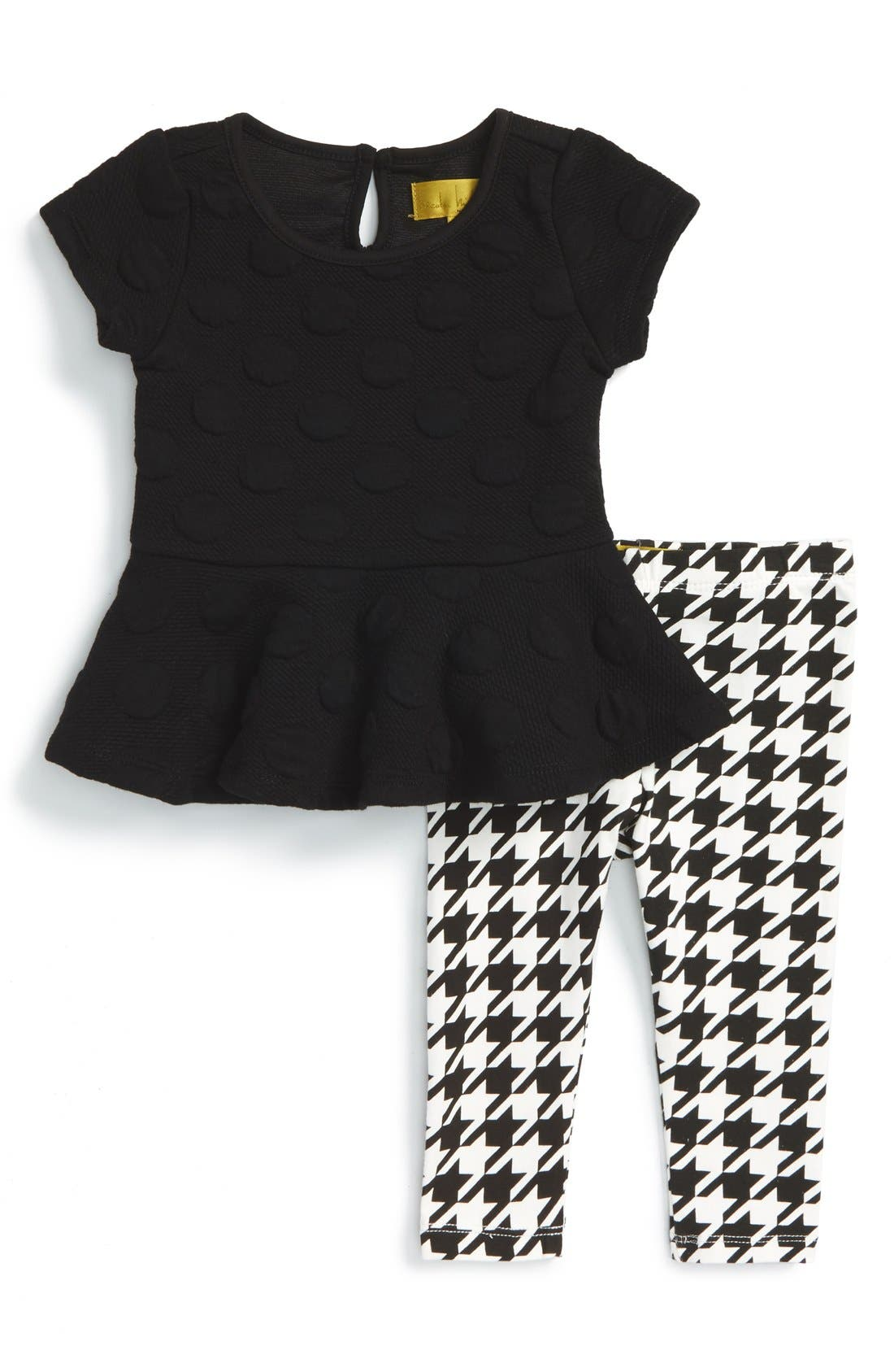 Main Image - Nicole Miller Peplum Tunic and Print Leggings (Baby Girls)
