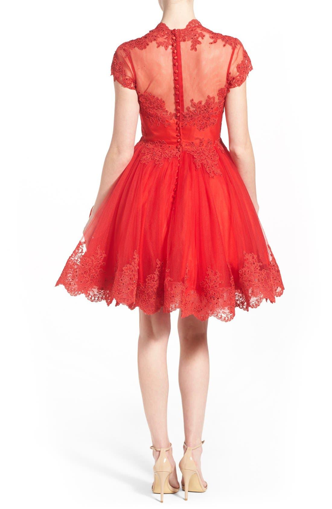 Alternate Image 2  - Mac Duggal Lace Skater Dress