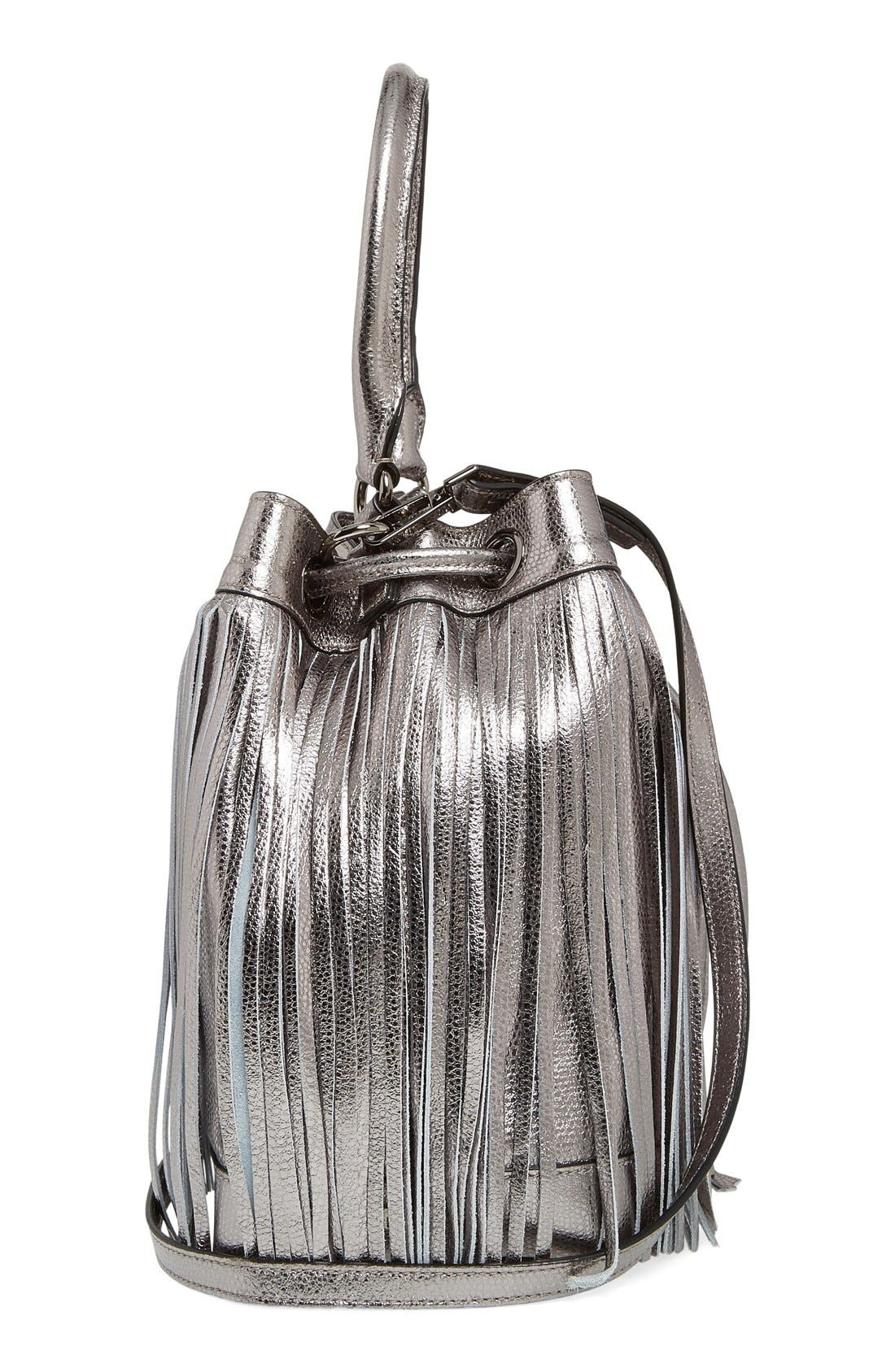 Alternate Image 5  - Milly 'Large' Metallic Leather Fringe Bucket Bag