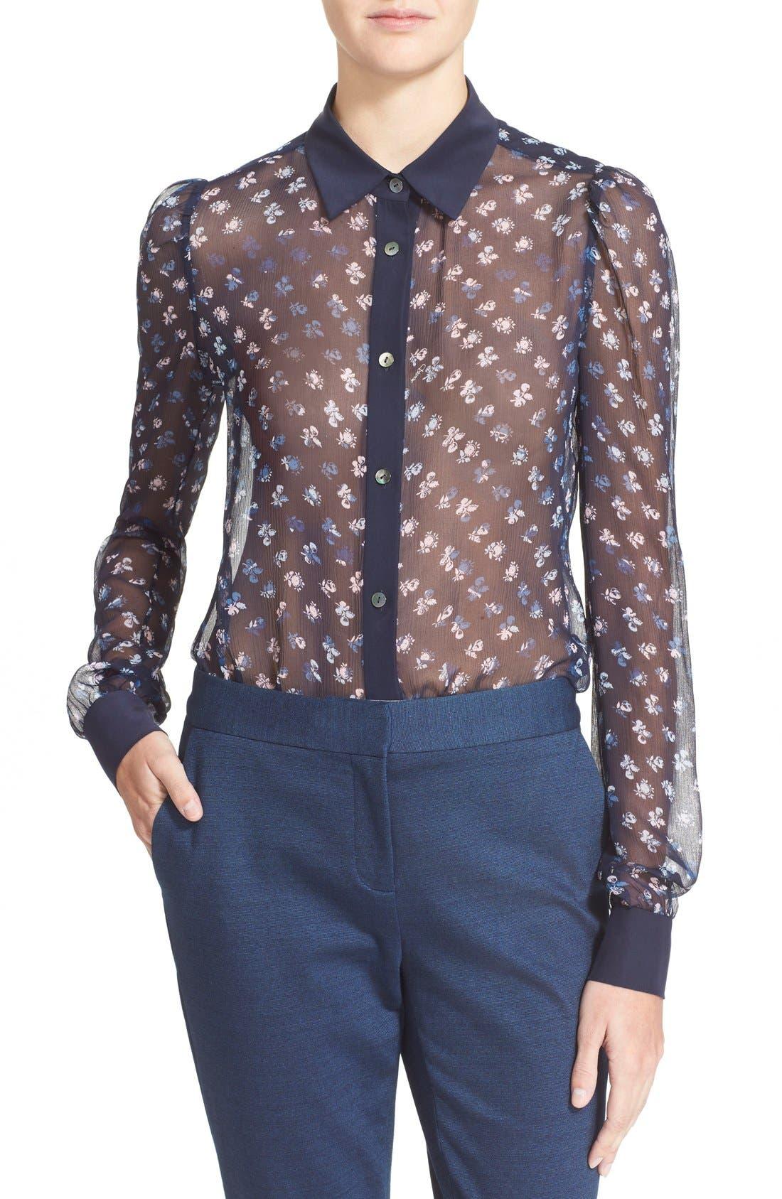Alternate Image 1 Selected - Diane von Furstenberg 'Mariah' Floral Print Silk Blouse