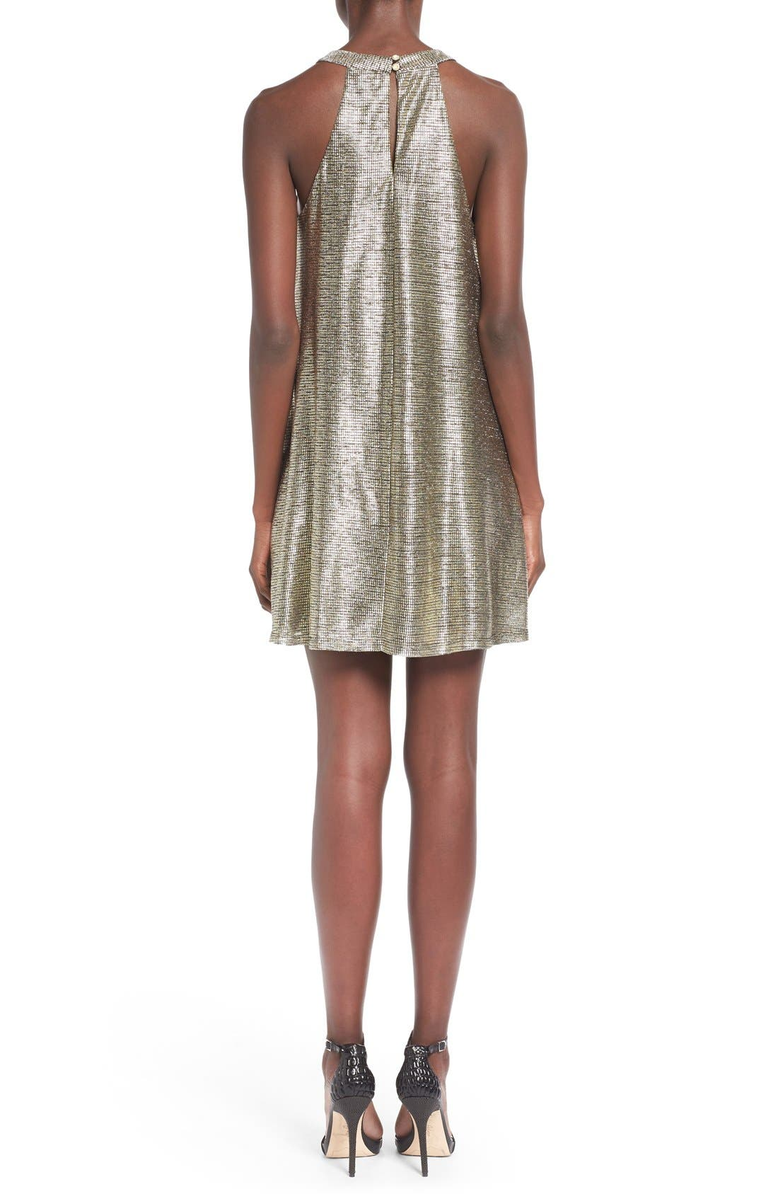 Alternate Image 2  - One Clothing Metallic Halter Swing Dress
