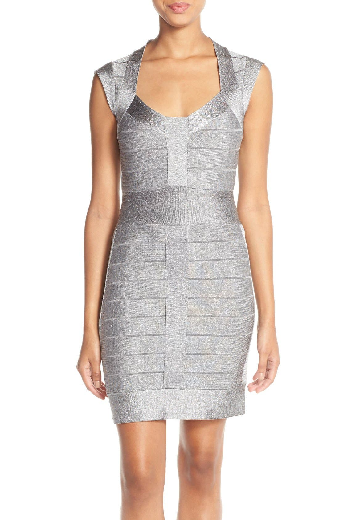 Main Image - French Connection Metallic Knit Bandage Dress
