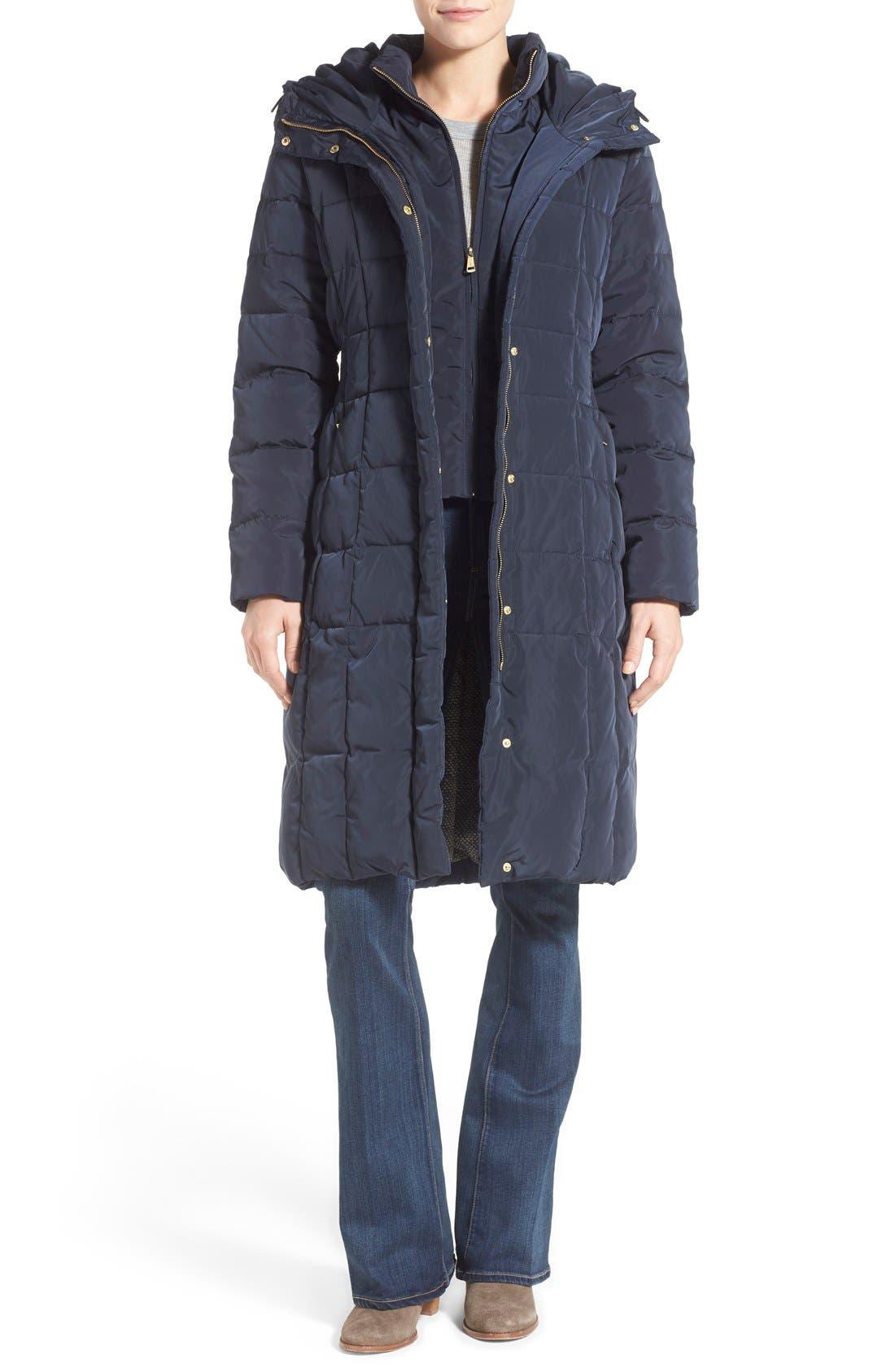 Alternate Image 1 Selected - Cole Haan Bib Insert Down & Feather Fill Coat (Regular & Petite)