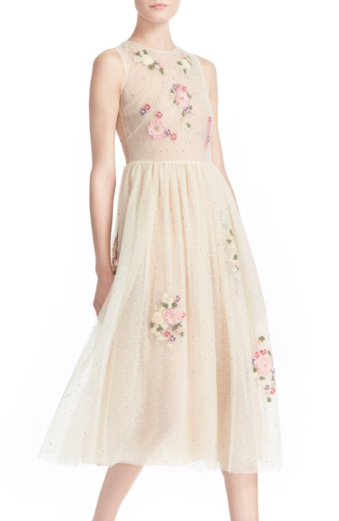 Alternate Image 4  - RED Valentino Floral Appliqué Sleeveless Dress