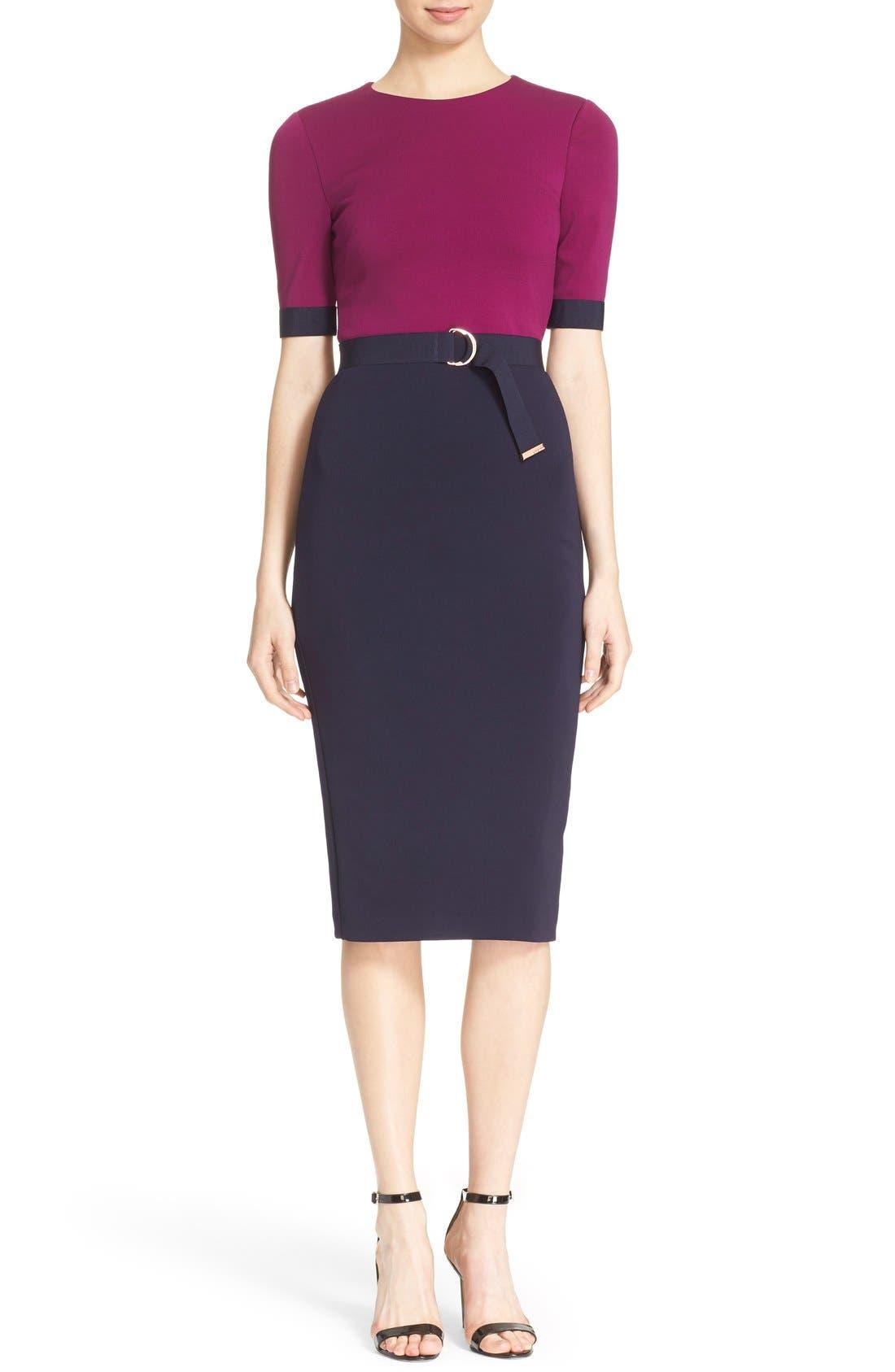 Main Image - Ted Baker London 'Wandee' Colorblock D-Ring Sheath Dress