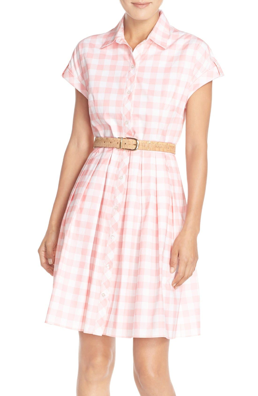 Main Image - Eliza J Check Cotton Poplin Shirtdress