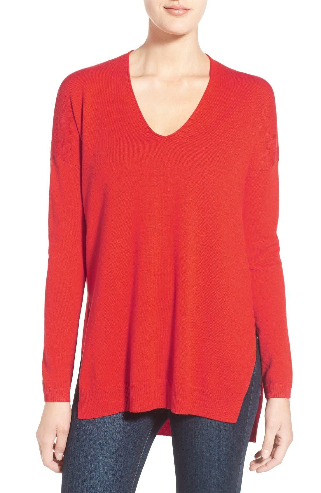 Main Image - Trouvé V-Neck Tunic Sweater