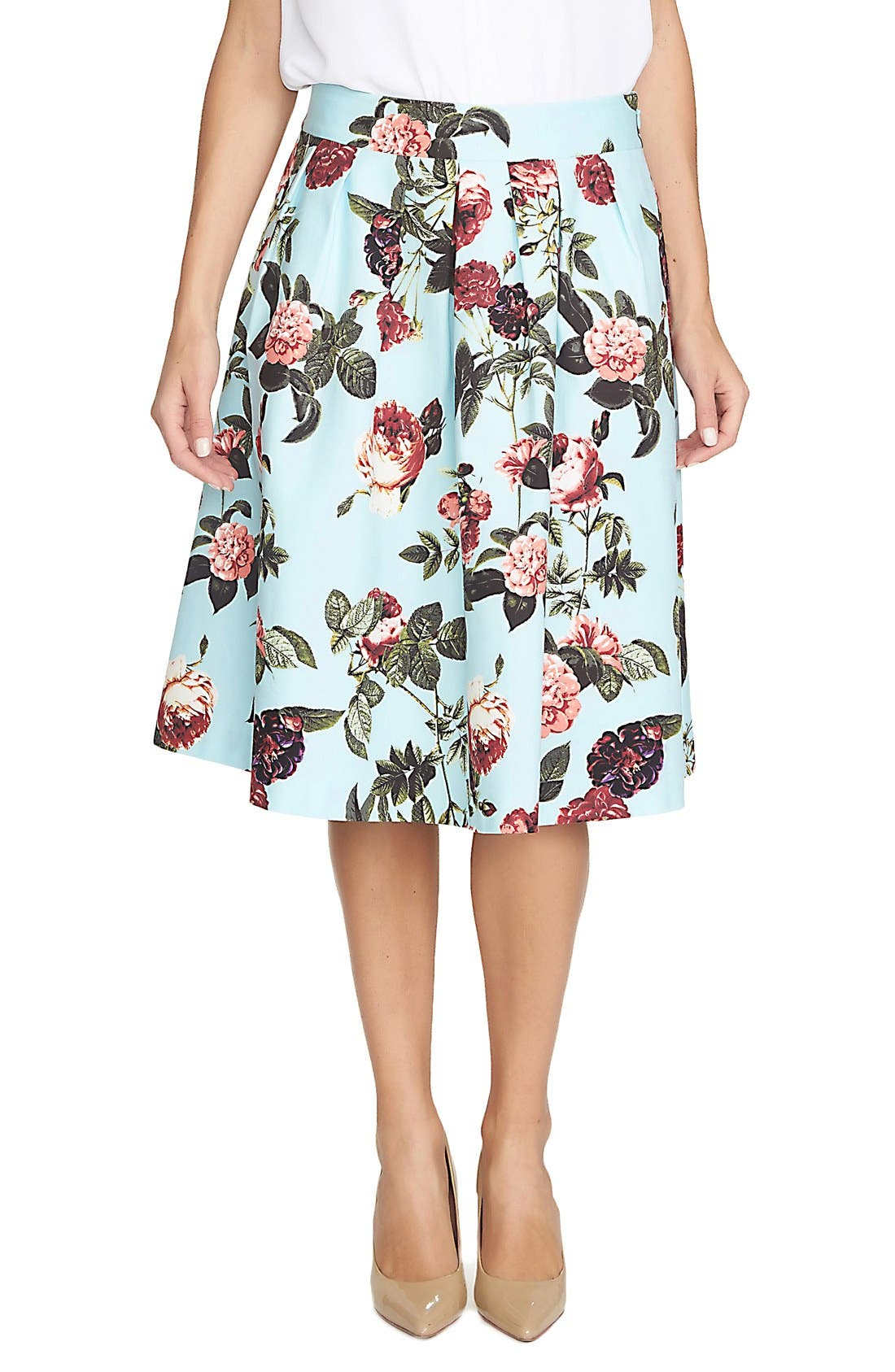Alternate Image 1 Selected - CeCe by Cynthia Steffe 'Bouquet Estate' Floral Print Full Skirt