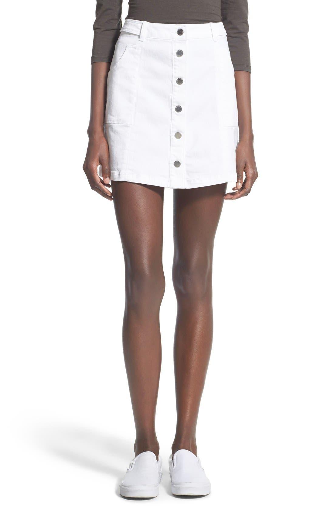 Main Image - Jolt Button Front Denim Miniskirt