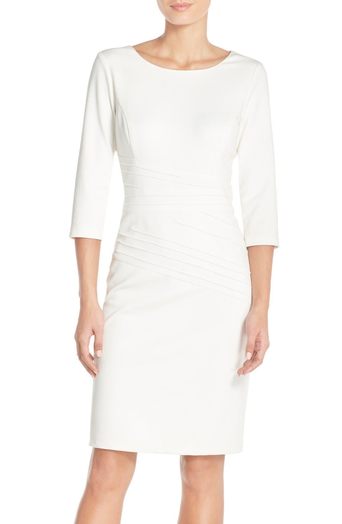 Alternate Image 1 Selected - Ellen Tracy Seamed PonteSheath Dress (Regular & Petite)