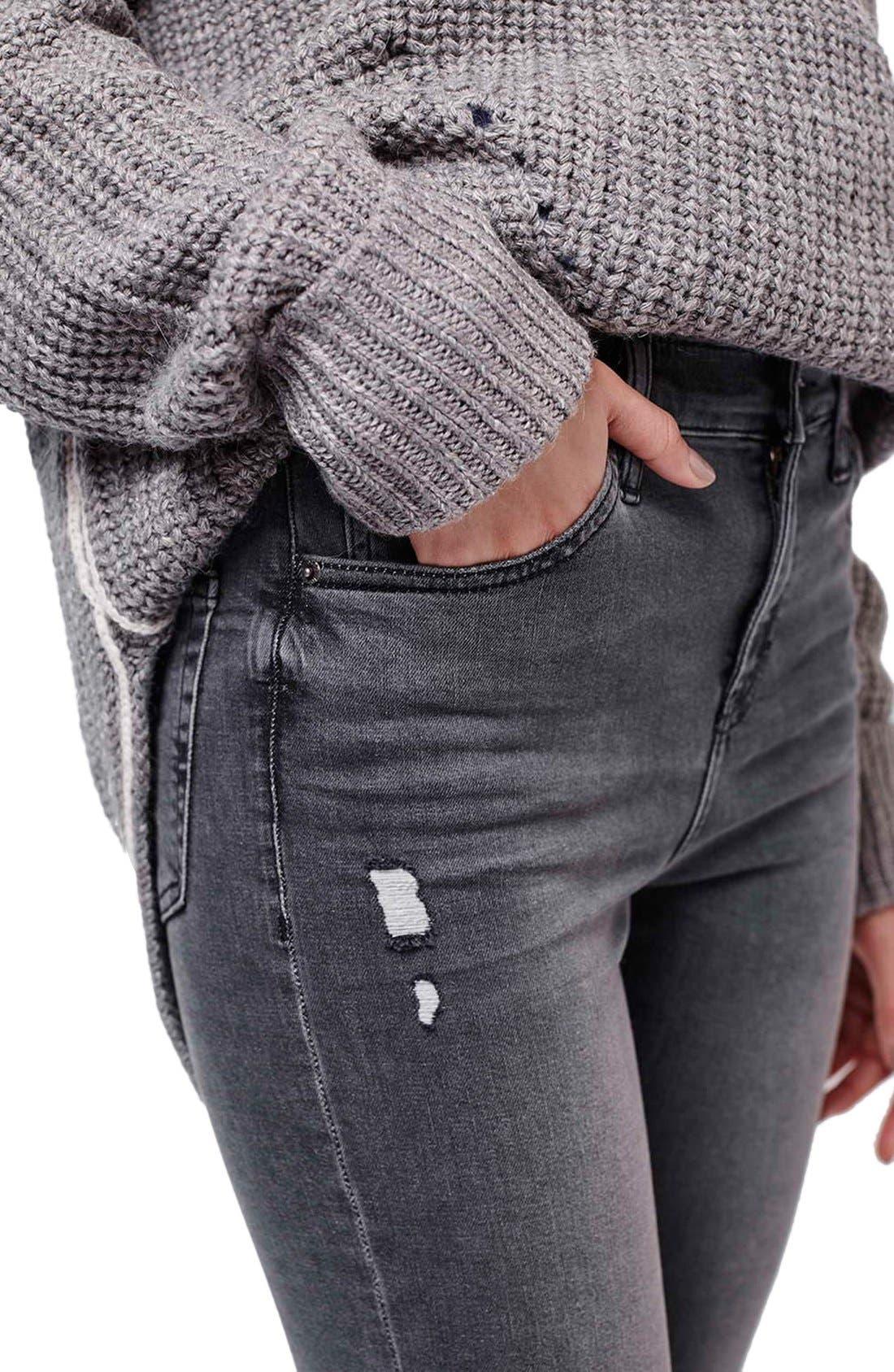 Alternate Image 5  - Topshop 'Jamie' Ripped Skinny Jeans (Grey)