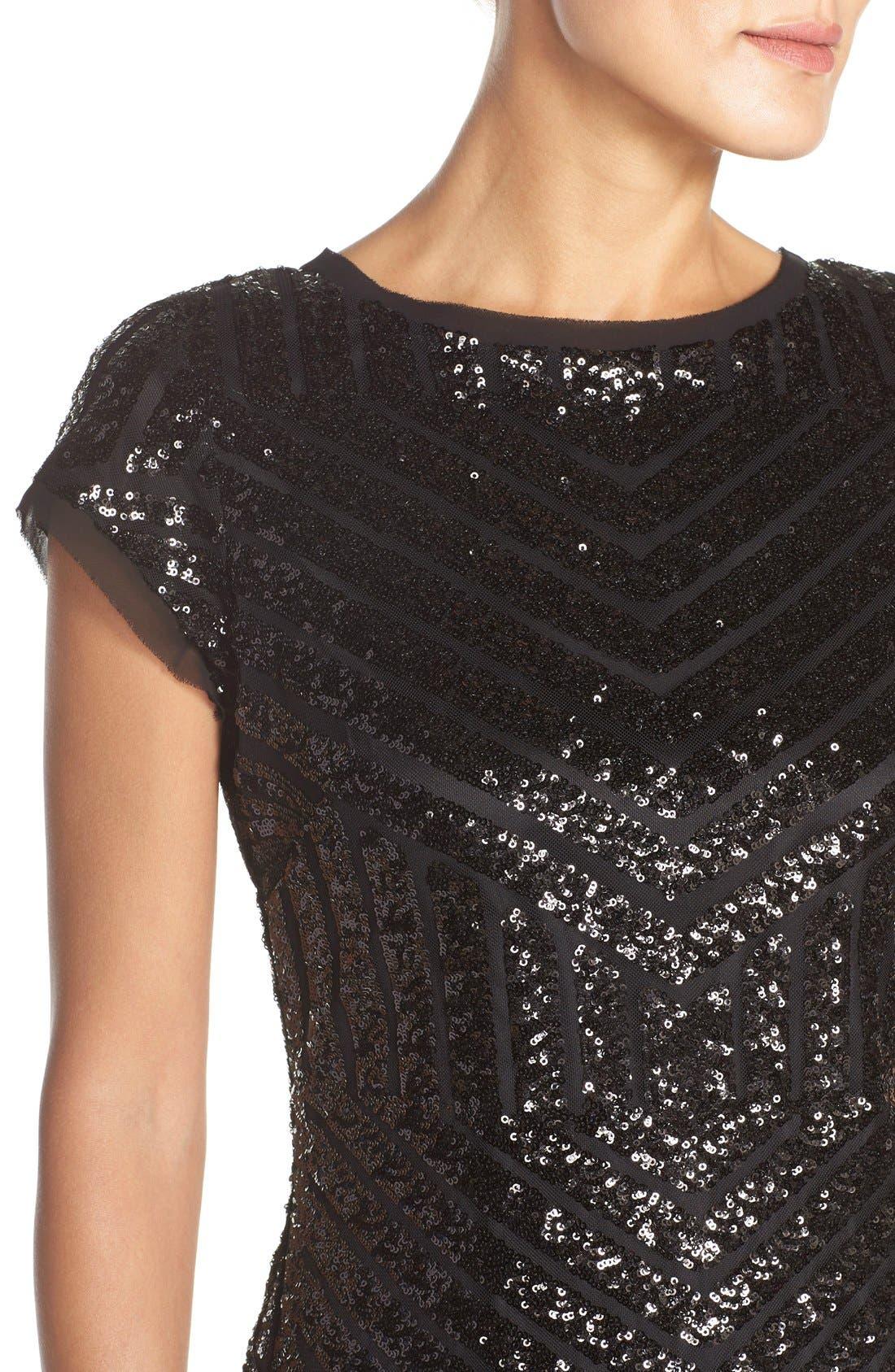 Alternate Image 5  - Vince Camuto Chevron Sequin Sheath Dress (Regular & Petite)