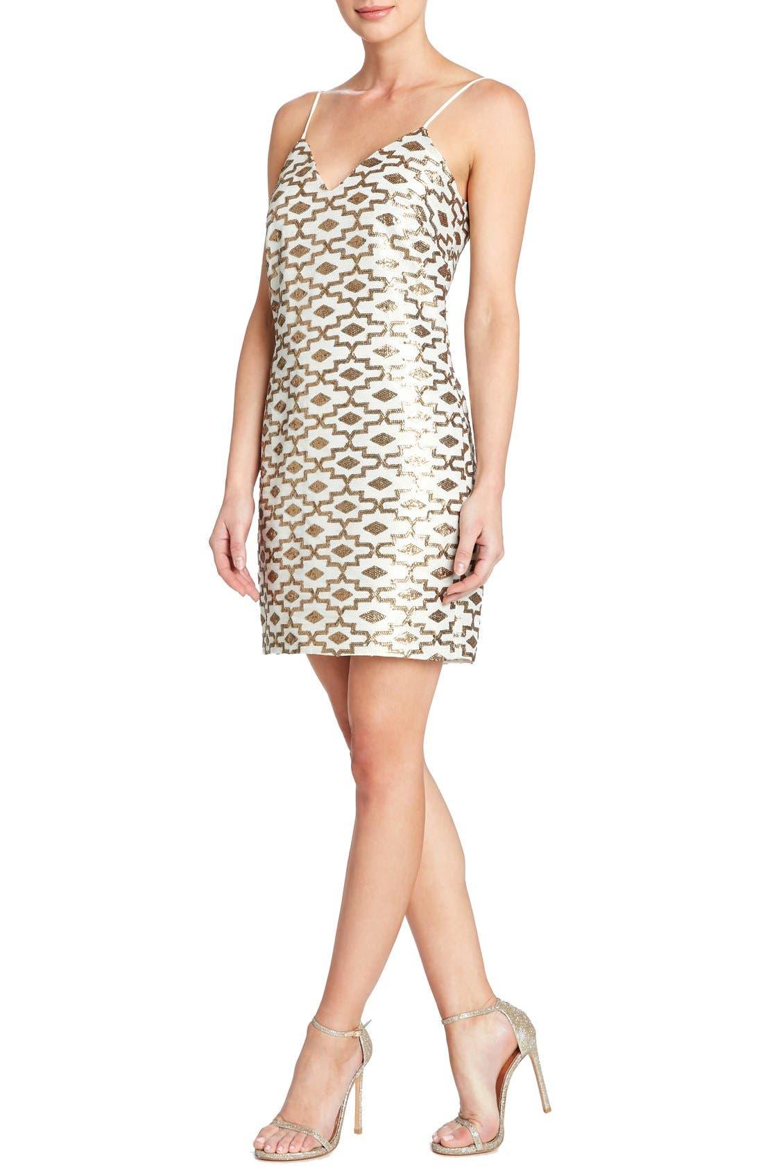 Main Image - Dress the Population 'Adriana' Sequin Chiffon Slip Dress
