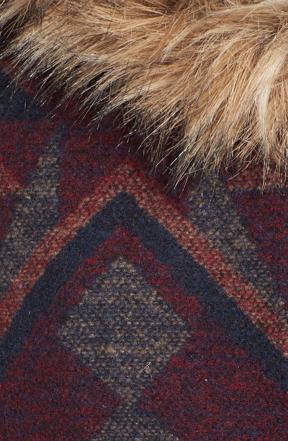 Alternate Image 5  - BB Dakota Faux Fur Trim Print Hooded Coat