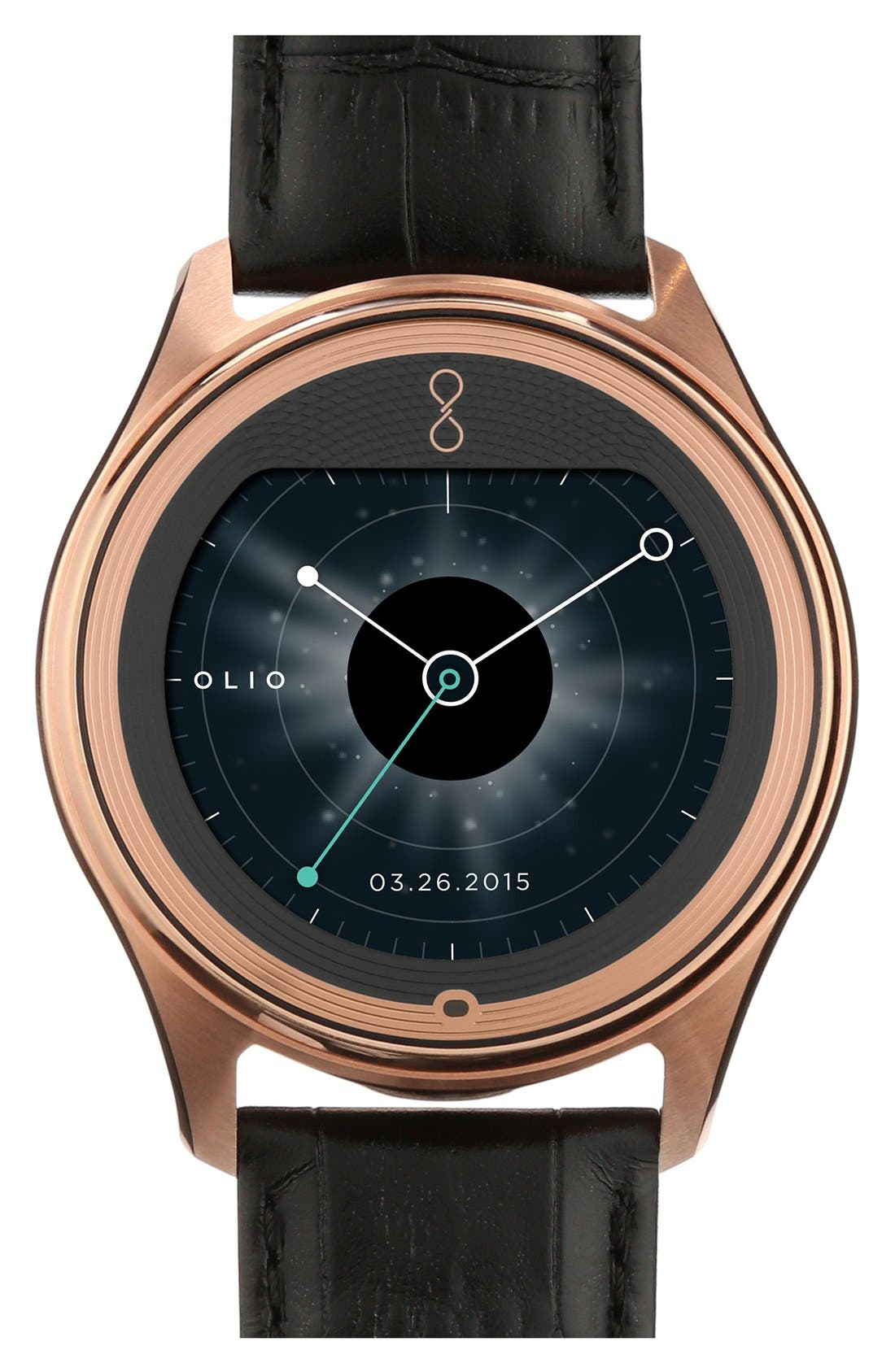 Alternate Image 1 Selected - Olio Devices 'Model One Rose Gold' Leather Strap Smart Watch, 47mm