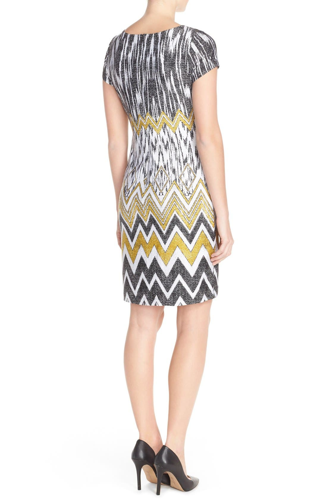 Alternate Image 2  - Ellen Tracy Chevron Print Jersey Sheath Dress
