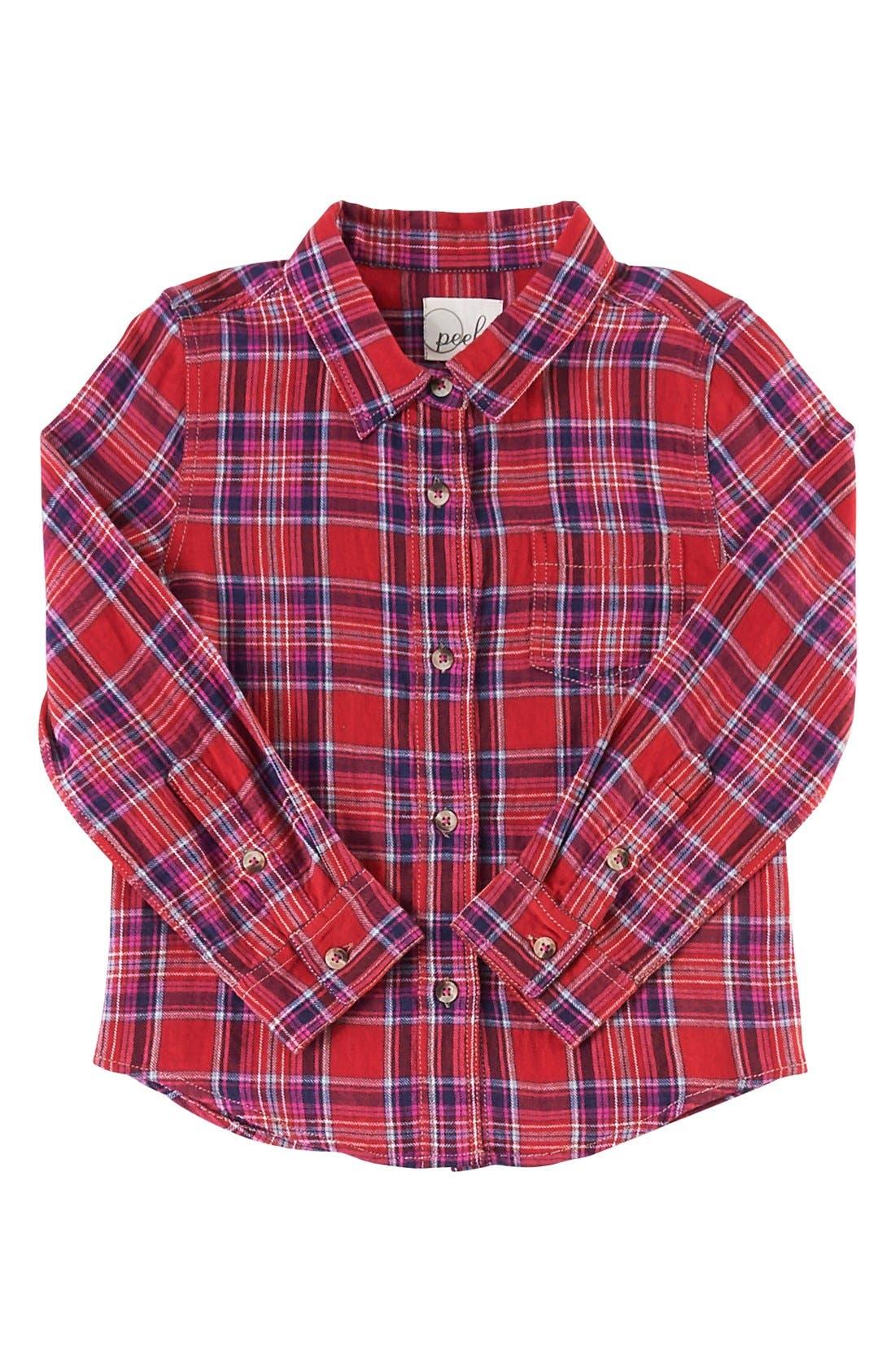 Alternate Image 1 Selected - Peek 'Belen' Plaid Flannel Shirt (Toddler Girls, Little Girls & Big Girls)