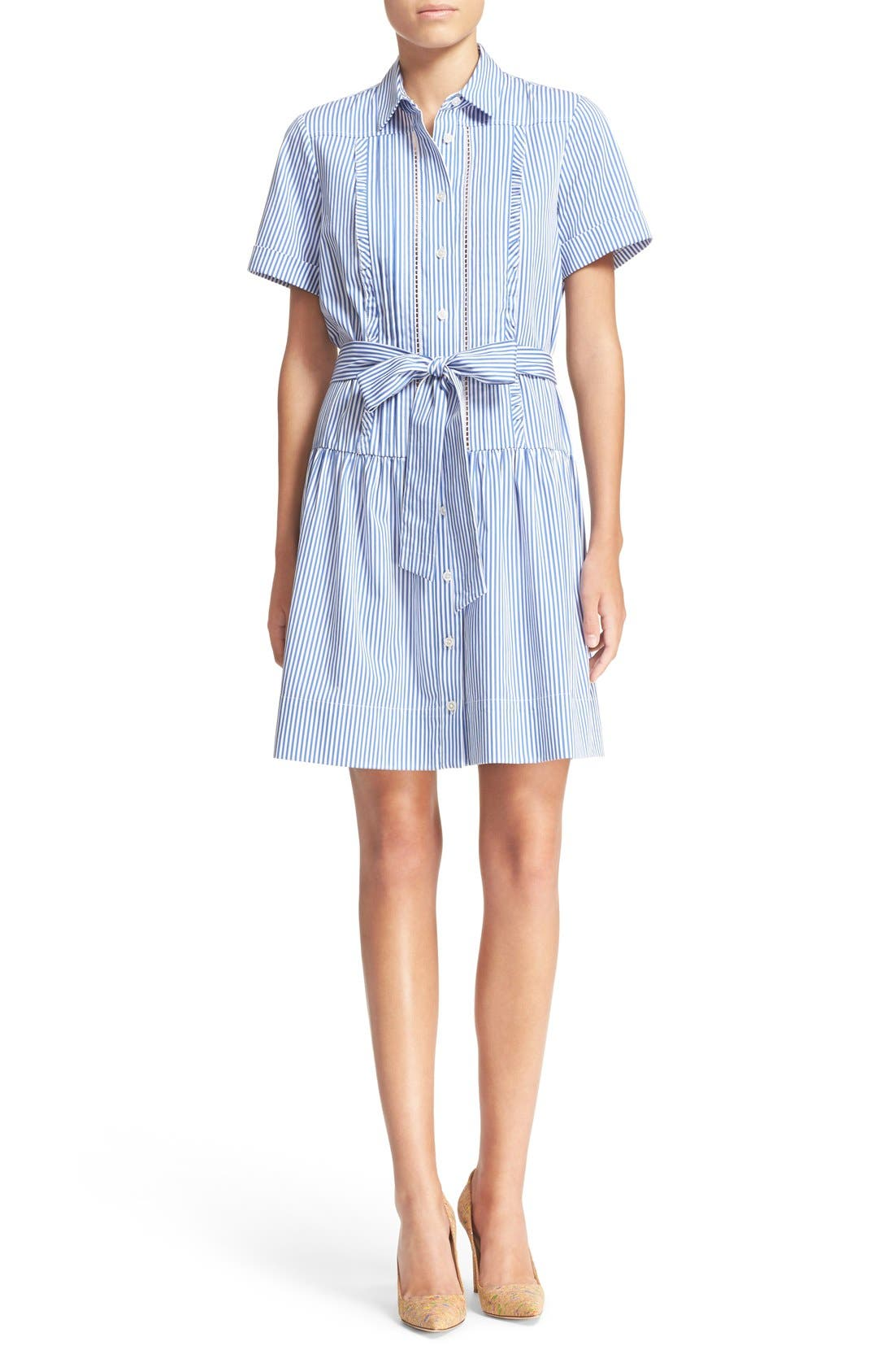 Alternate Image 1 Selected - kate spade new york stripe pleated shirtdress