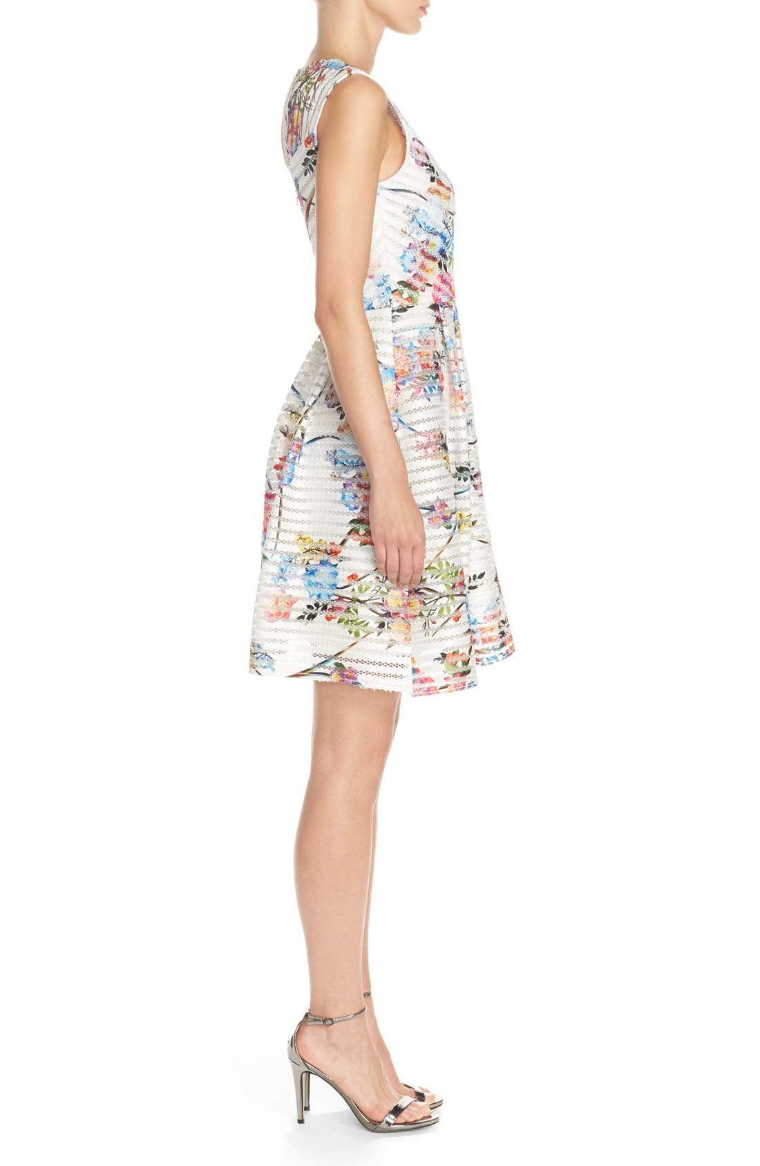 Alternate Image 3  - Gabby Skye Floral Scuba Mesh Fit & Flare Dress