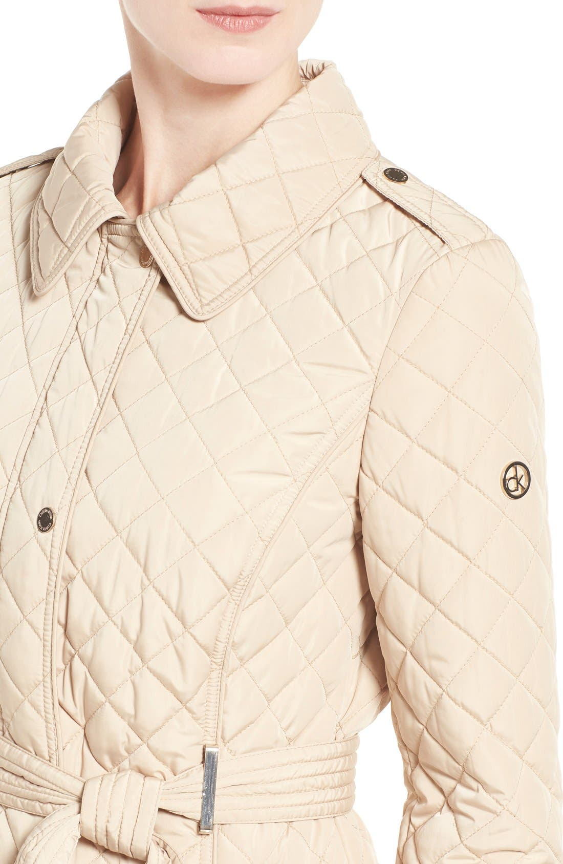 Alternate Image 4  - Calvin Klein Belted Hooded Quilted Coat