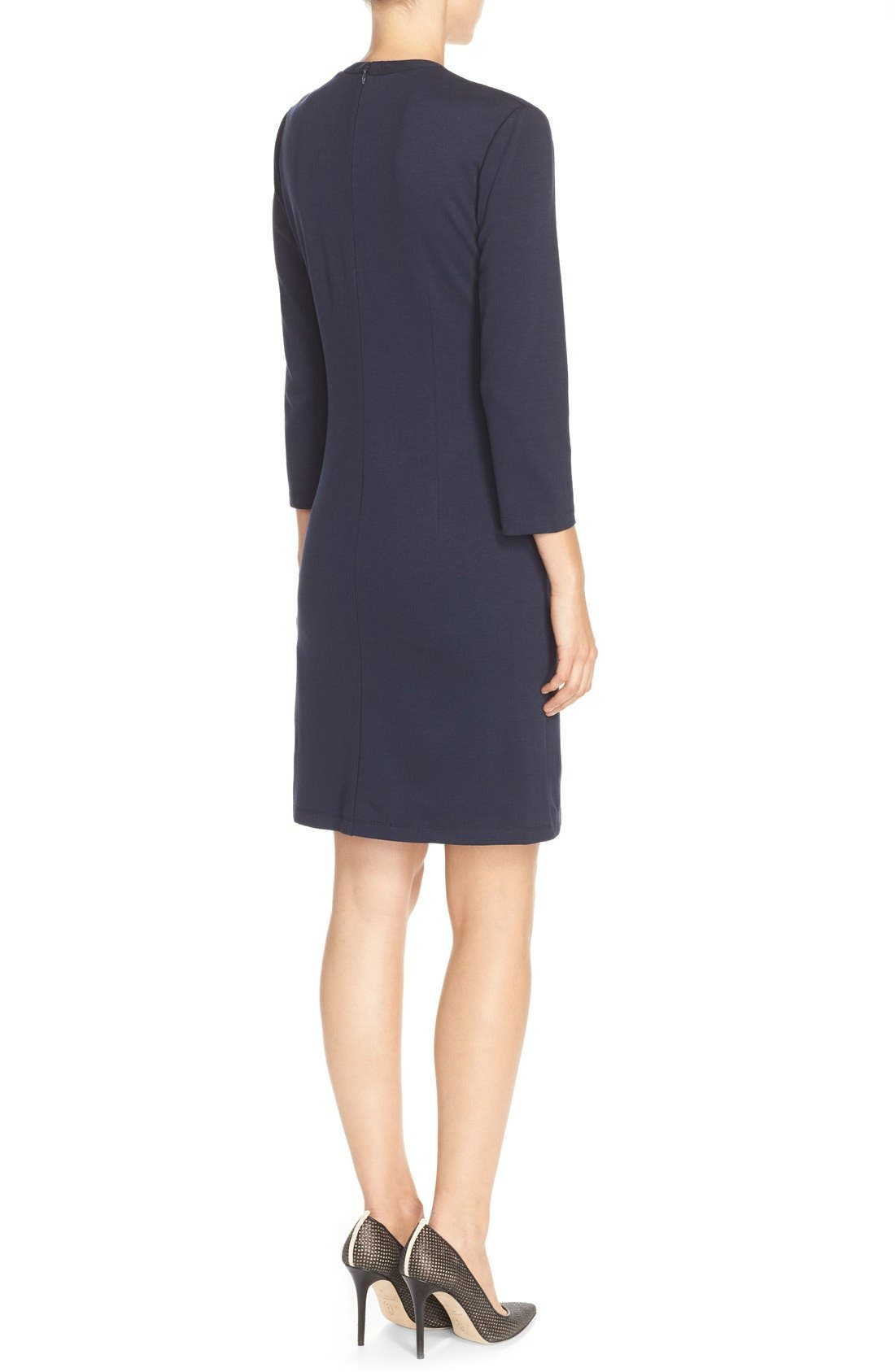 Alternate Image 2  - Eliza J Button Pockets Ponte A-Line Dress (Regular & Petite)