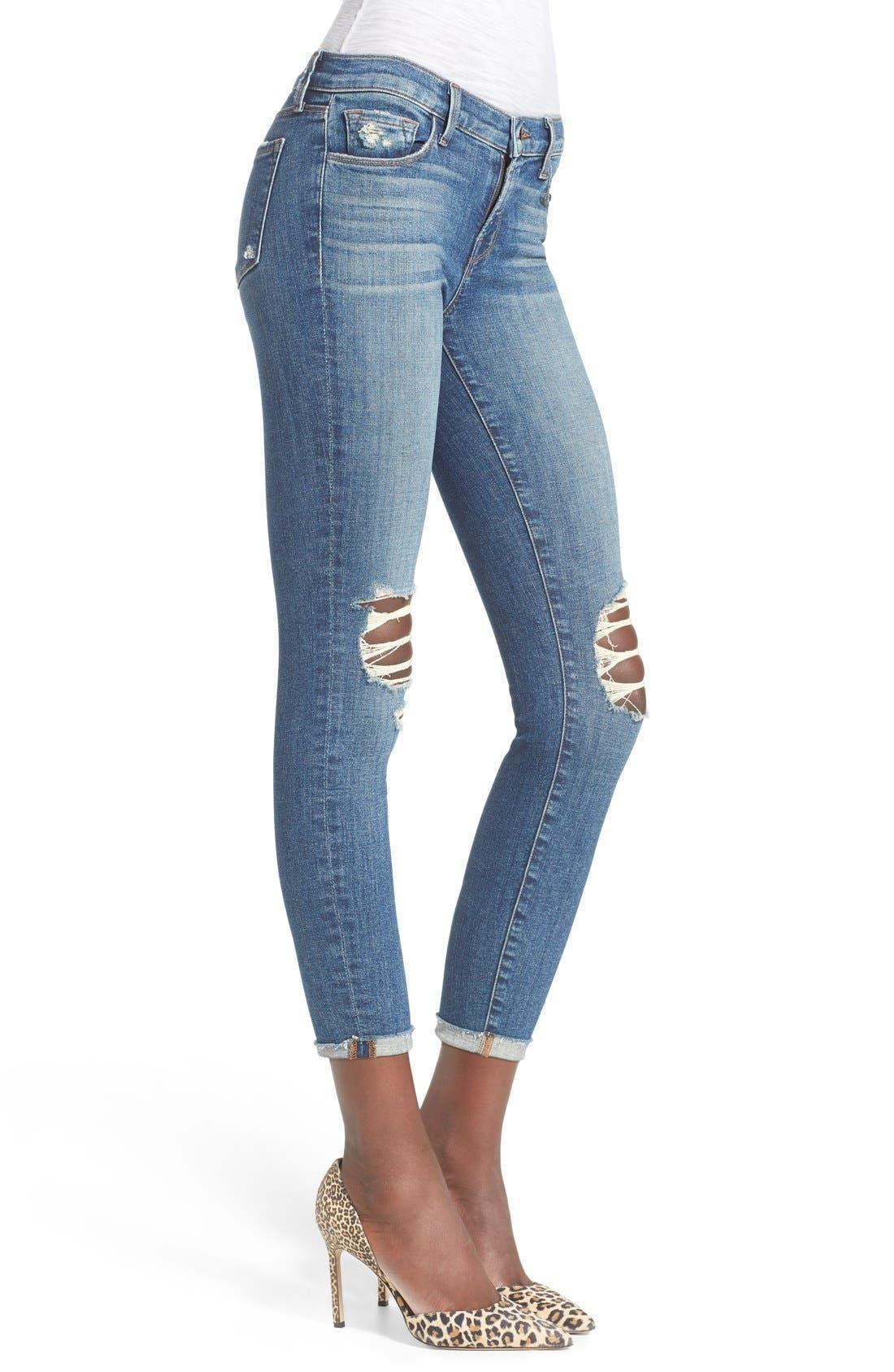 Alternate Image 3  - J Brand Destroyed Skinny Capri Jeans (Breathless)