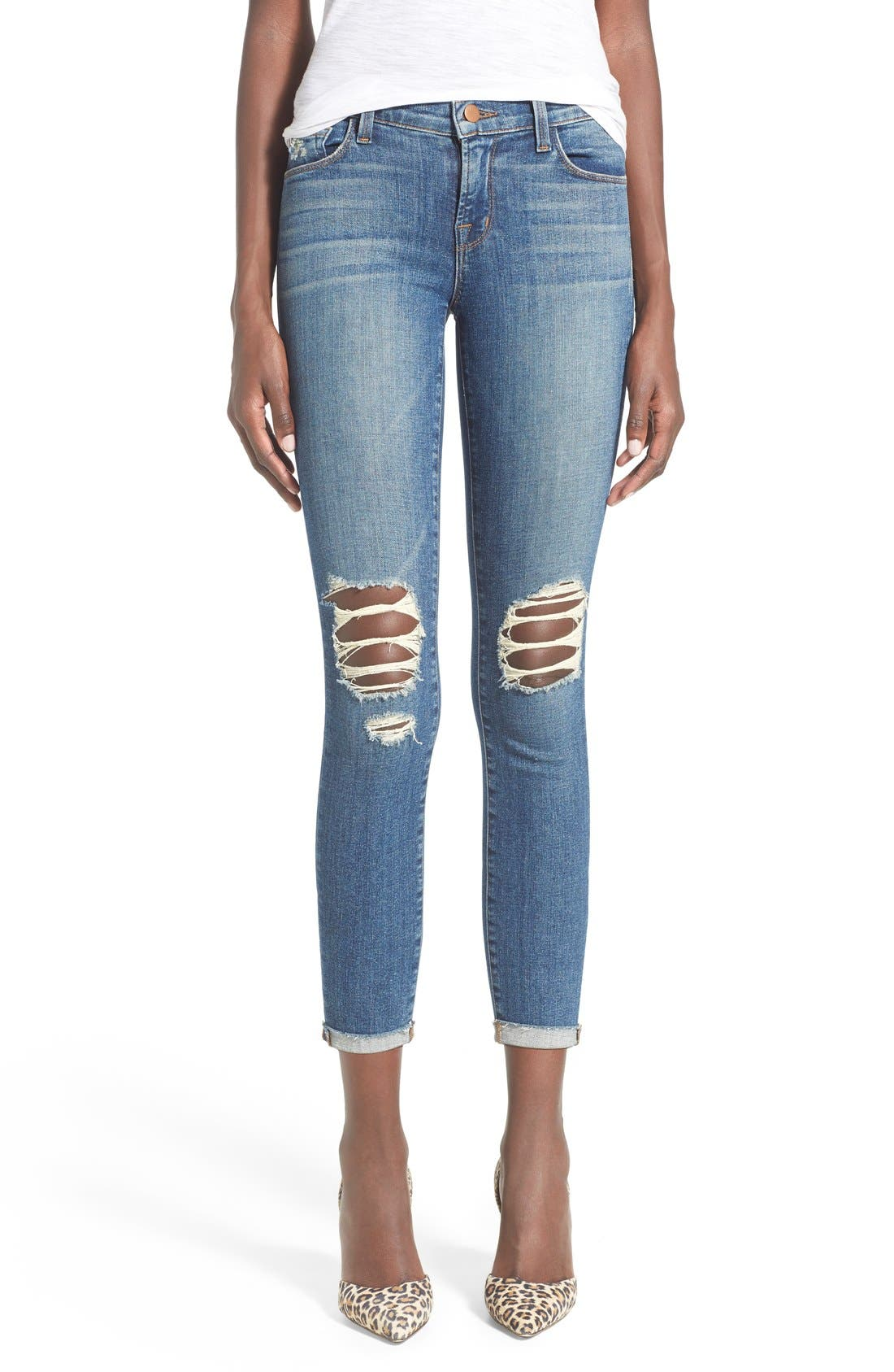 Alternate Image 1 Selected - J Brand Destroyed Skinny Capri Jeans (Breathless)