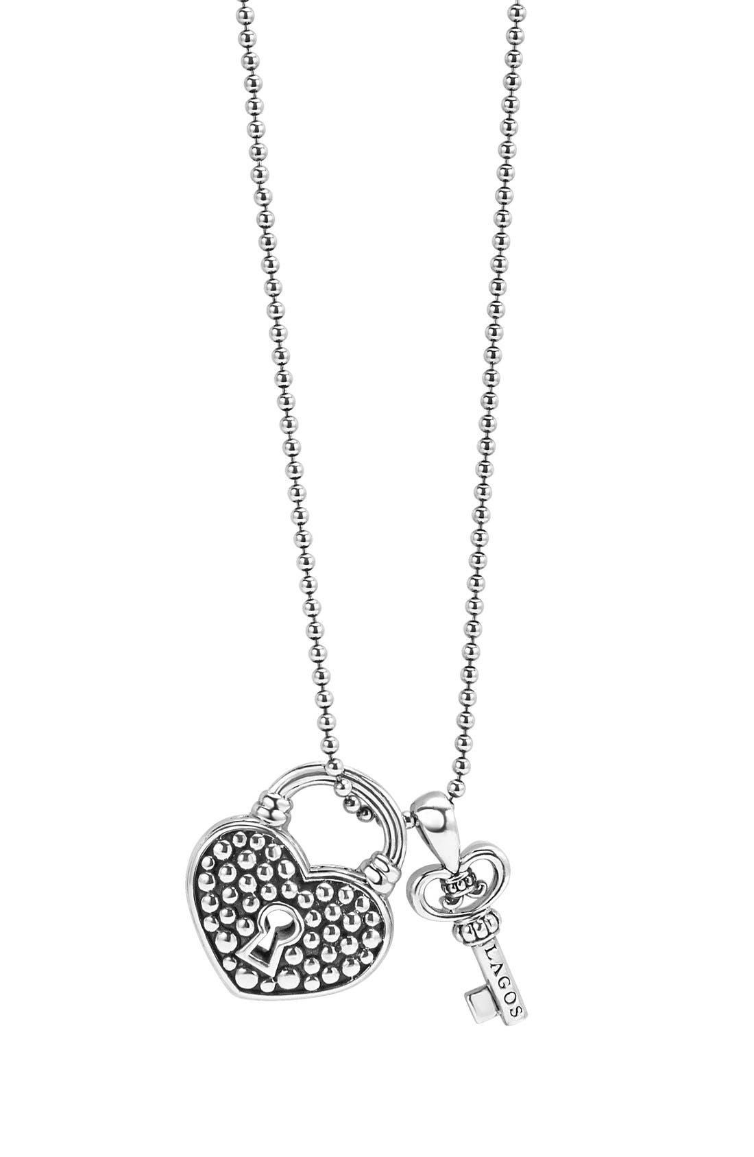 LAGOS 'Beloved' Heart Lock & Key Pendant Necklace