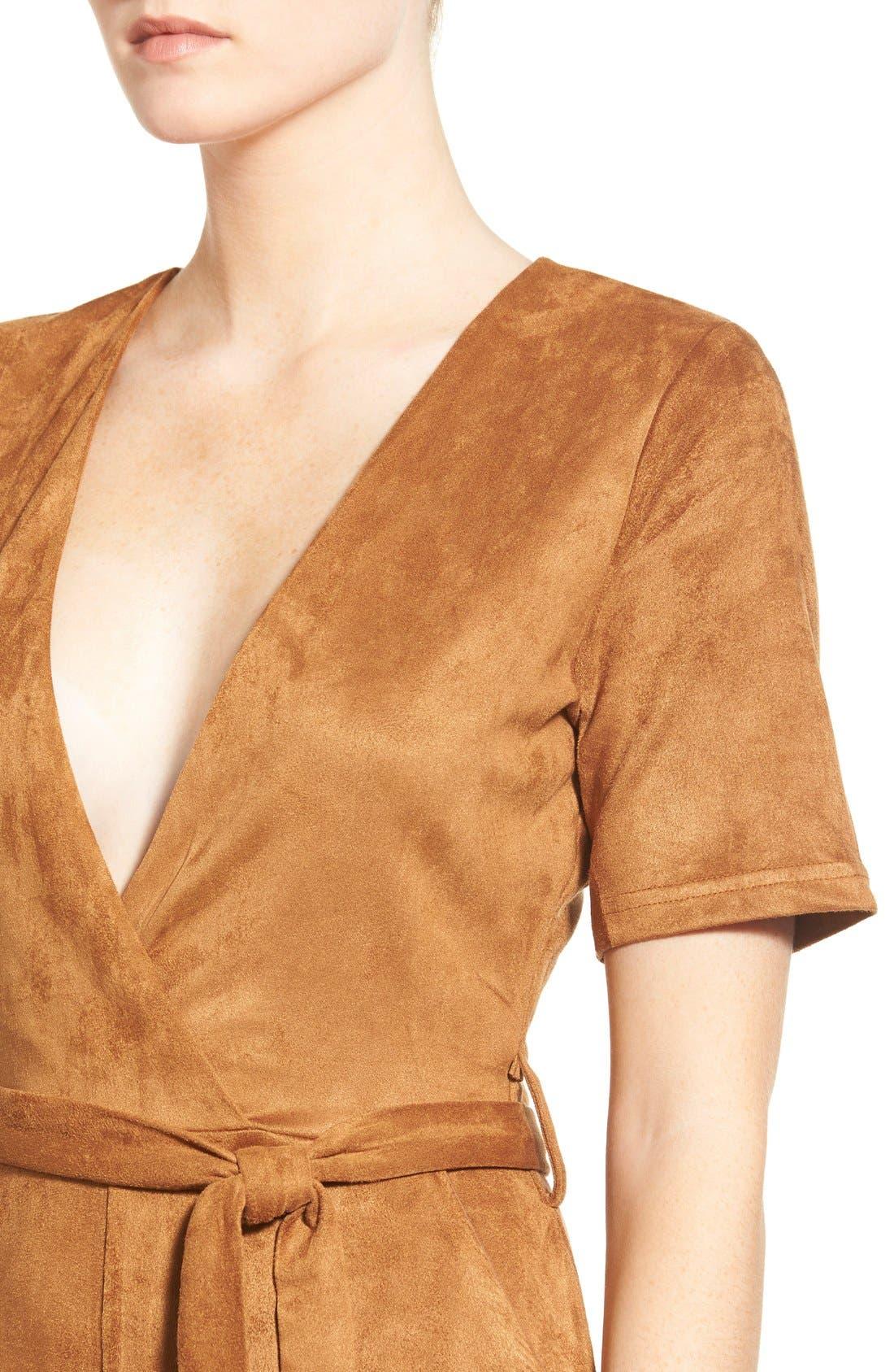 Alternate Image 4  - Missguided Faux Suede Culotte Jumpsuit