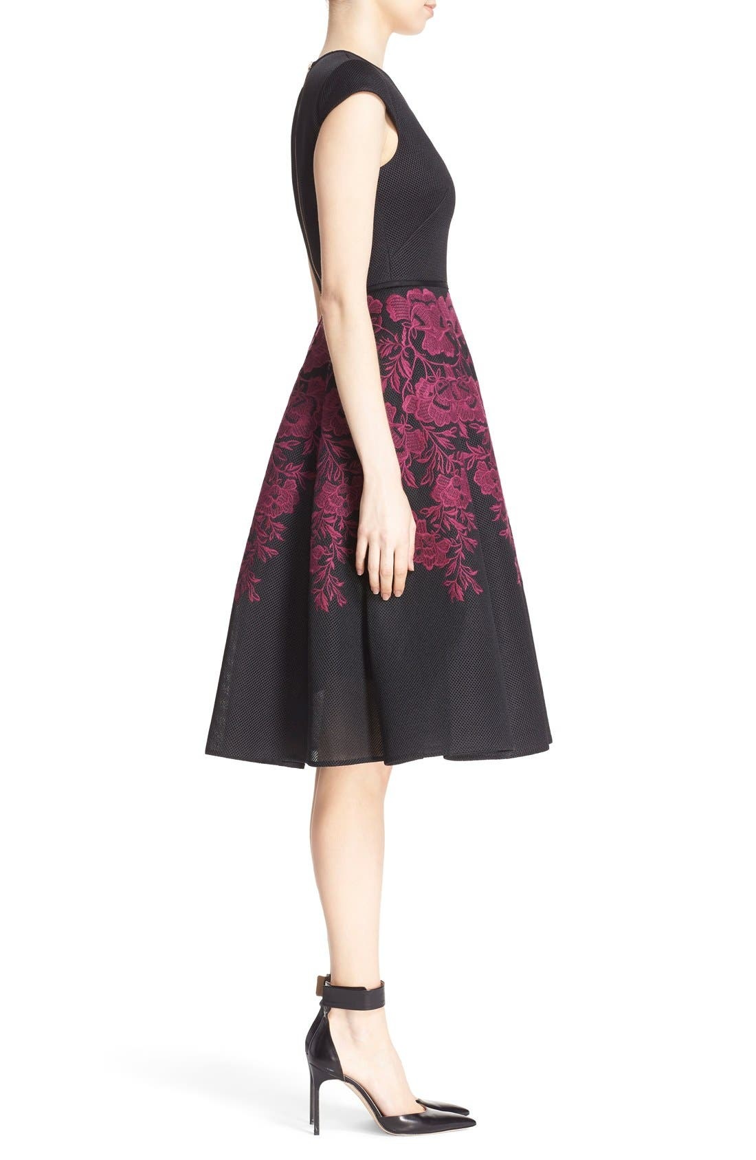 Alternate Image 3  - Ted Baker London 'Levana' Lace Appliqué Mesh Fit & Flare Dress