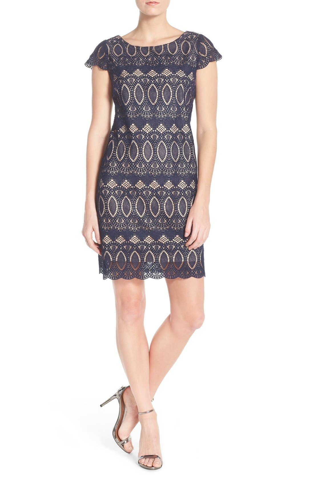 Alternate Image 4  - Eliza J Scalloped Lace Sheath Dress (Regular & Petite)