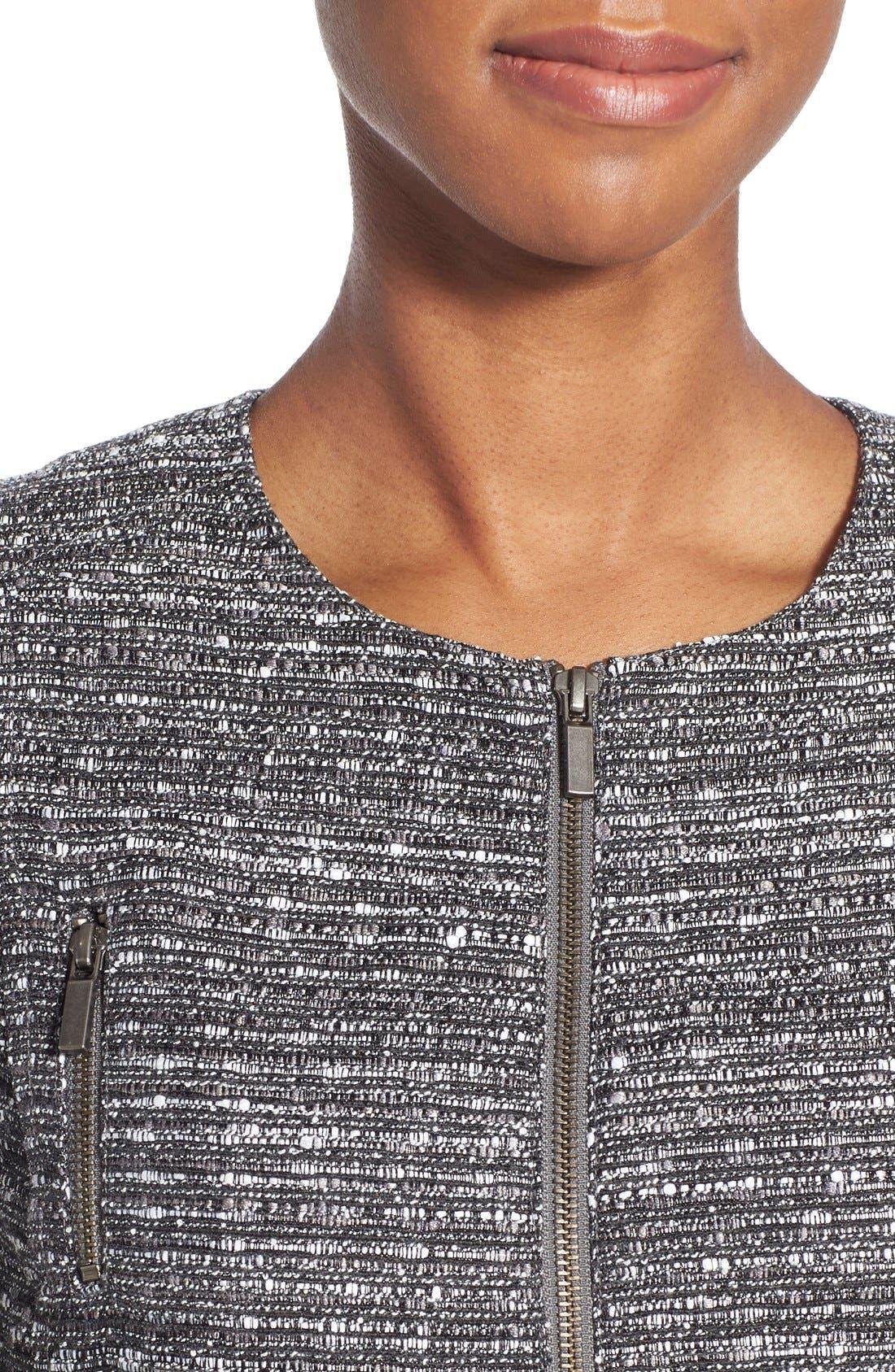 Alternate Image 4  - Halogen® Zip Front Tweed Jacket (Regular & Petite)