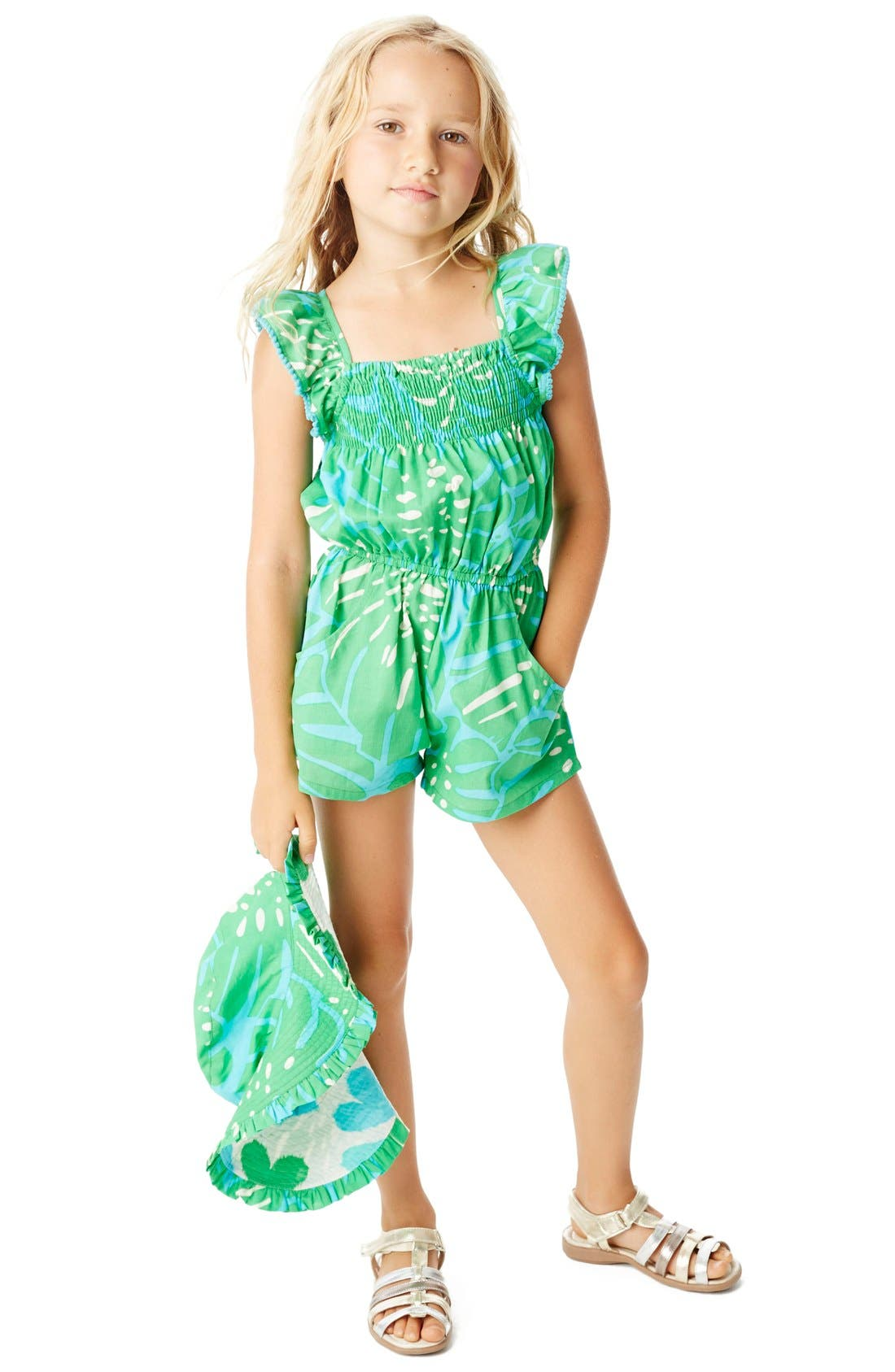 Alternate Image 5  - Masalababy 'Zuri - Island Palm' Flutter Sleeve Romper (Toddler Girls, Little Girls & Big Girls)