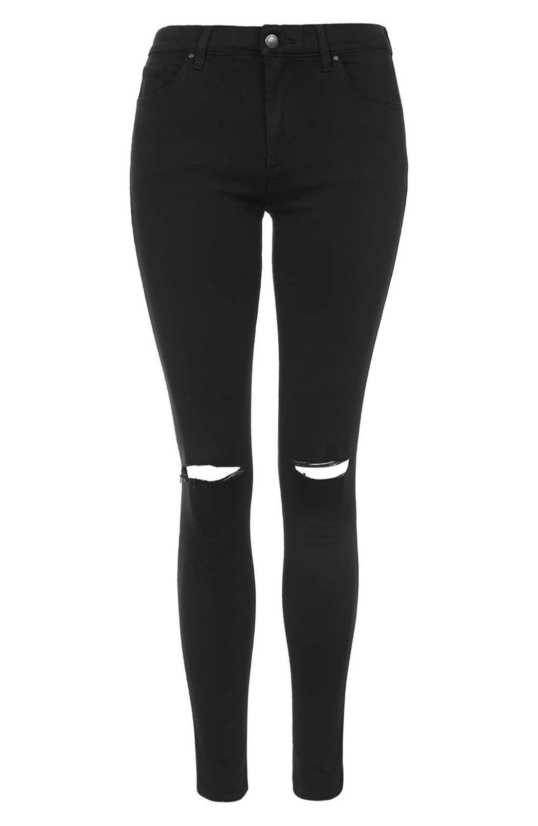 Alternate Image 4  - Topshop Moto 'Leigh' Ripped Skinny Jeans (Black)