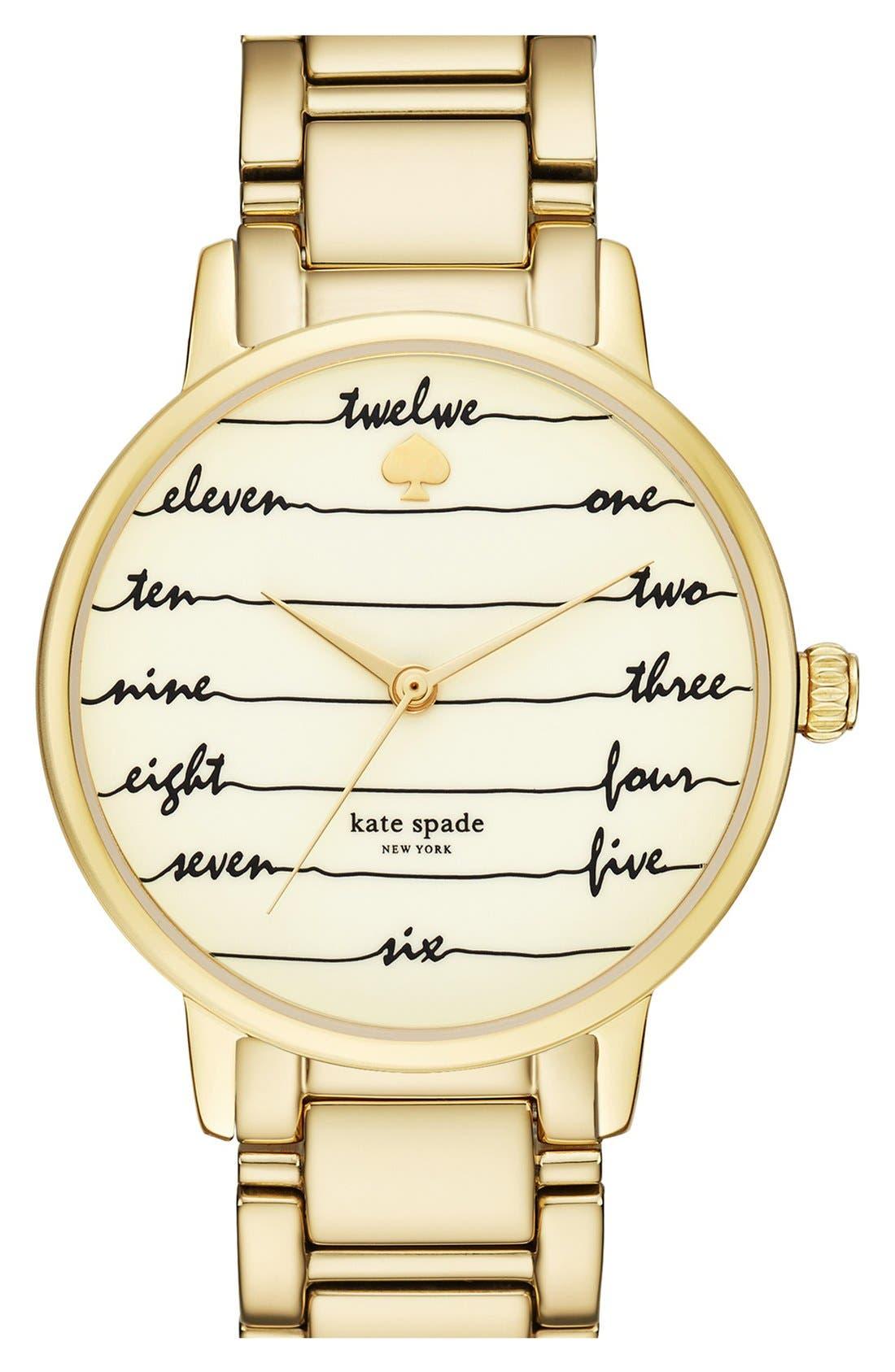 Alternate Image 1 Selected - kate spade new york 'gramercy - chalkboard' bracelet watch, 34mm