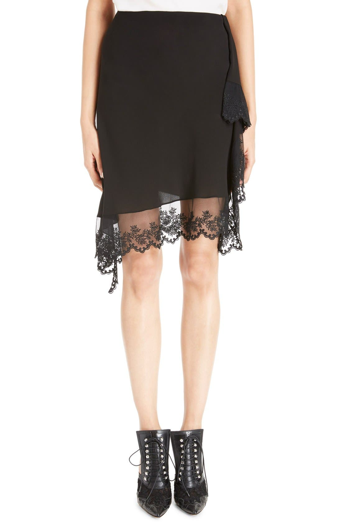 Main Image - Givenchy Scalloped Lace & Silk Asymmetrical Skirt