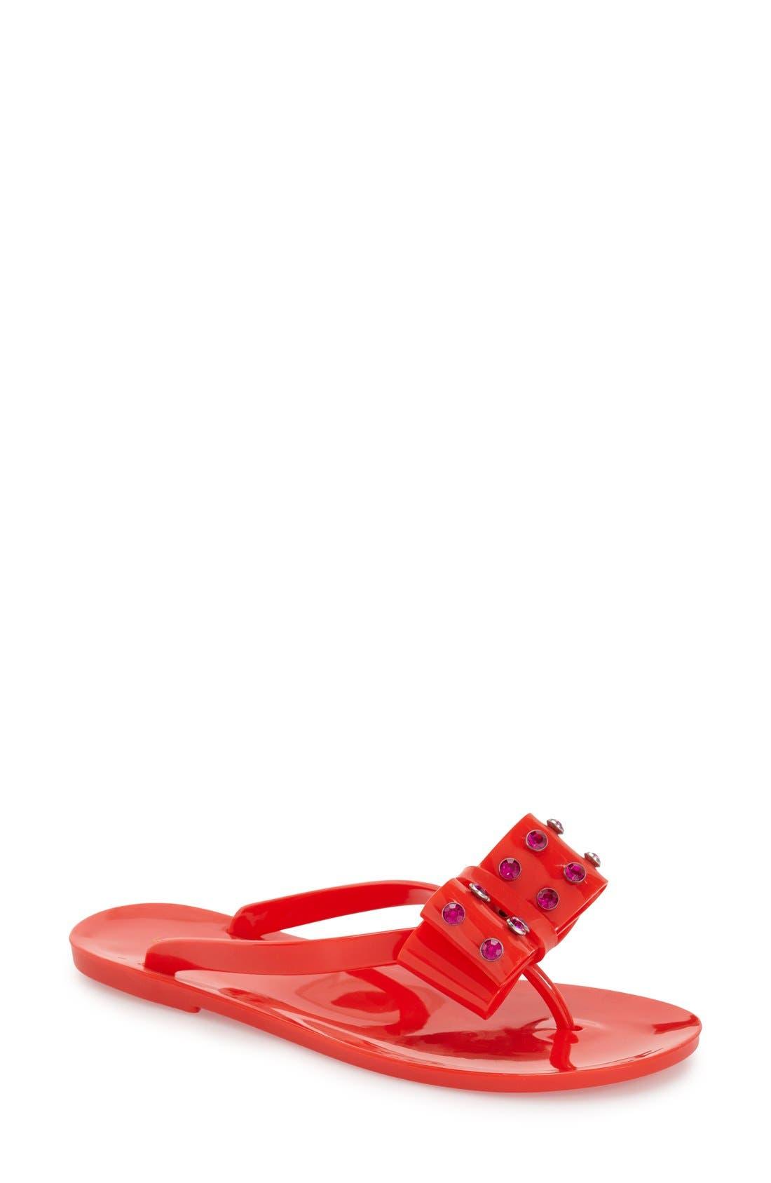 Alternate Image 1 Selected - kate spade new york 'francy' crystal bow flip flop (Women)
