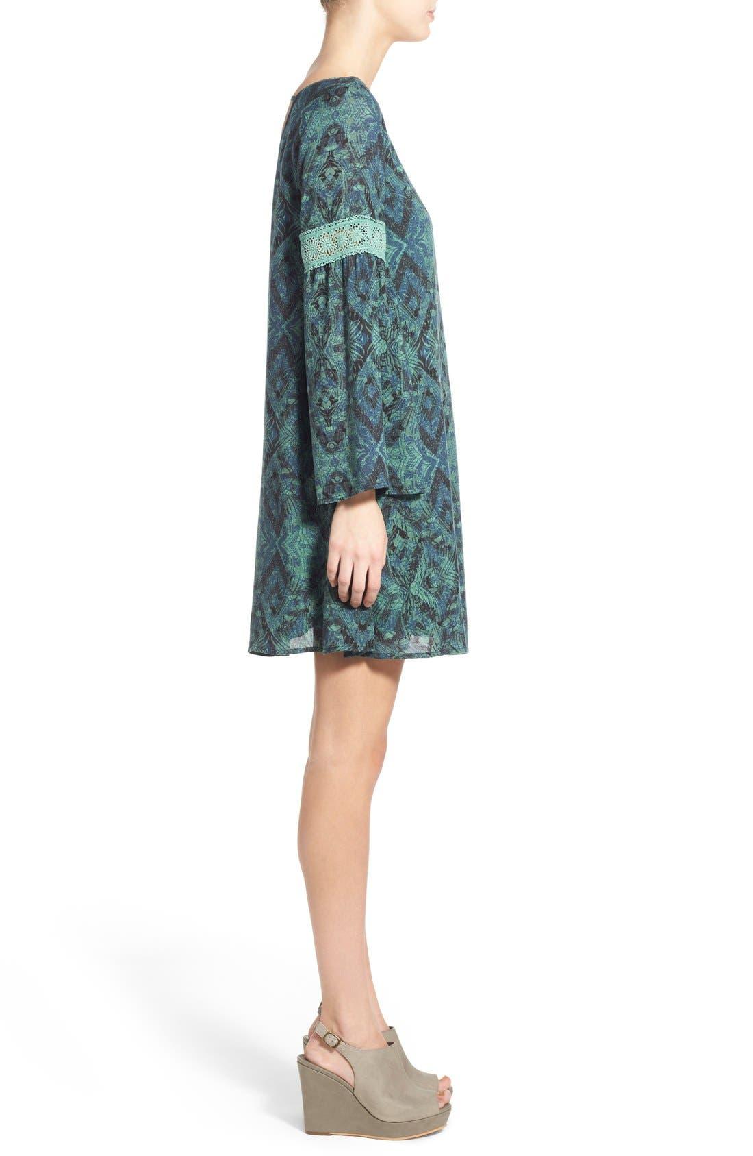 Alternate Image 3  - Sun & Shadow Print Bell Sleeve Shift Dress