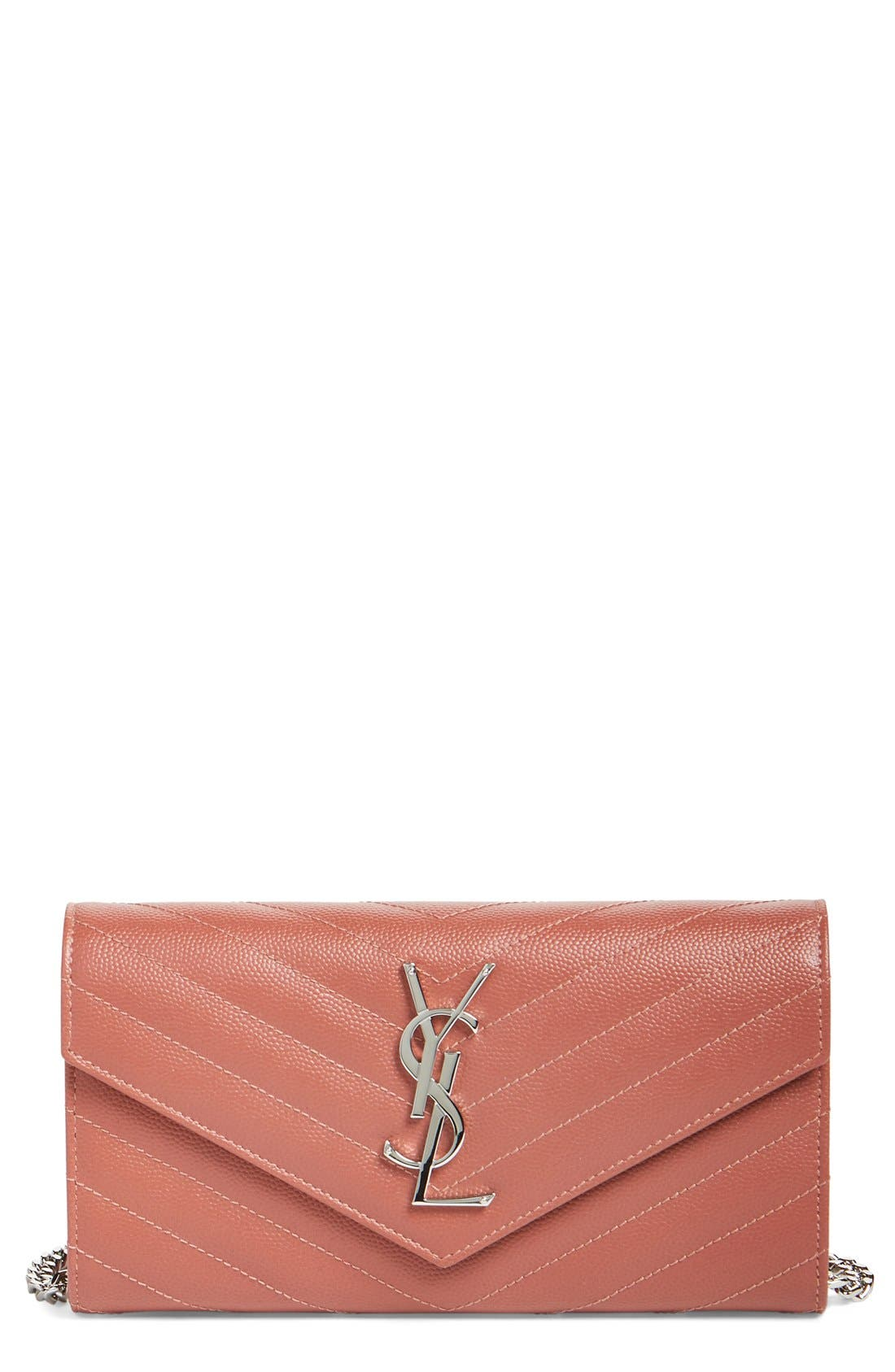 Alternate Image 1 Selected - Saint Laurent 'Small Monogram' Calfskin Wallet on a Chain
