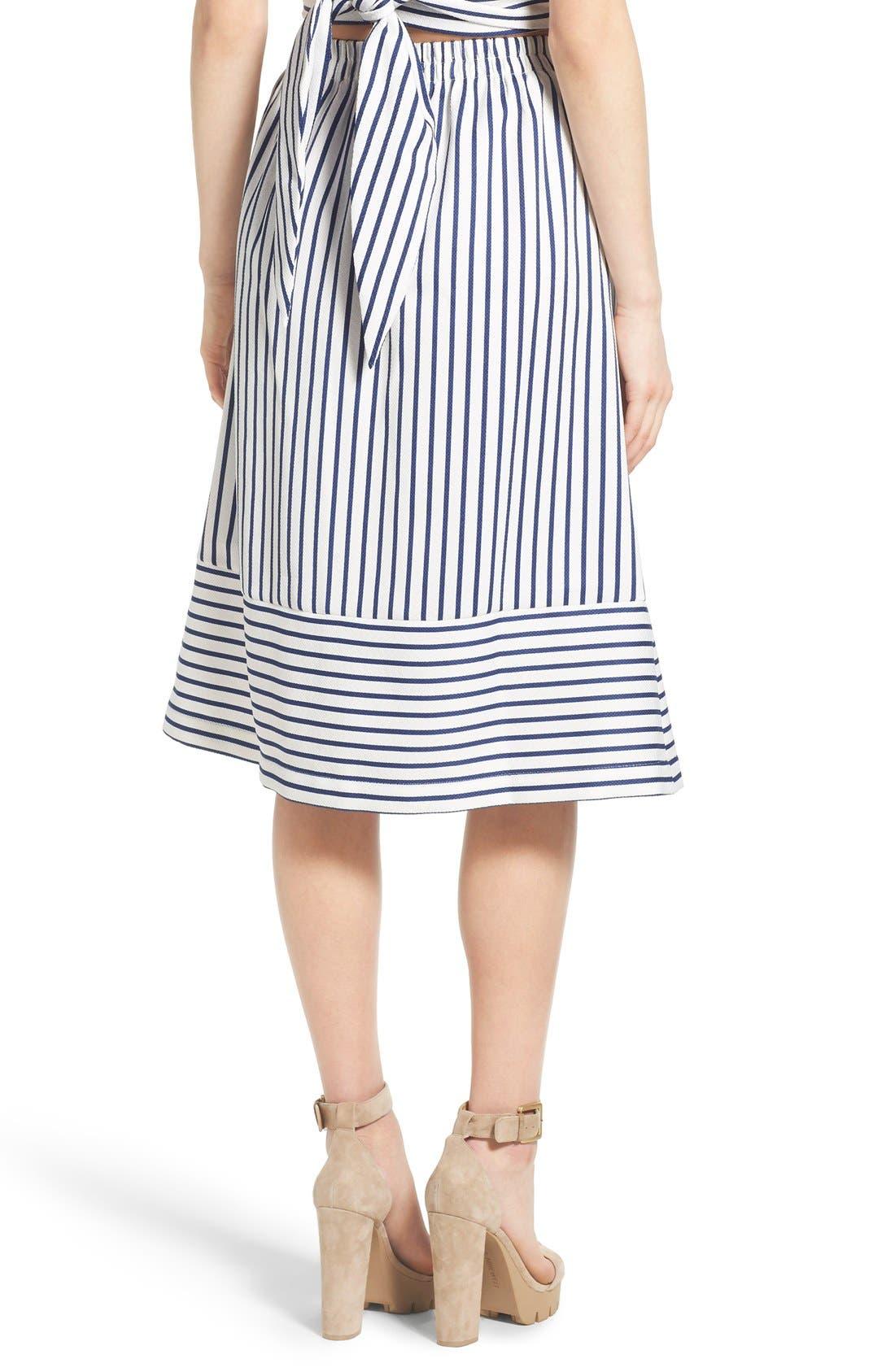 Alternate Image 2  - J.O.A. Cotton Poplin Stripe Midi Skirt